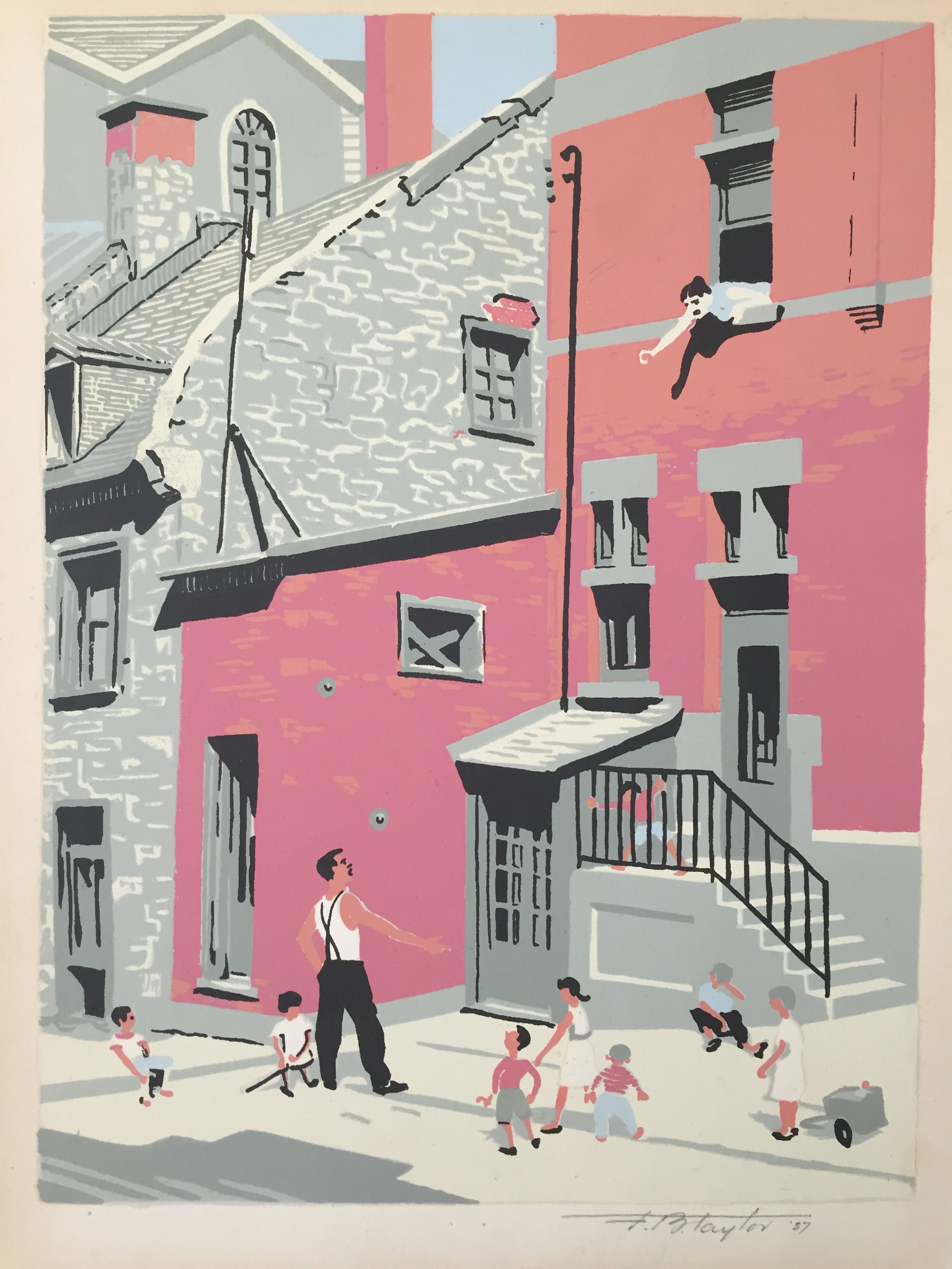 "Frederick Taylor'Looking up St. Cecile Street, Montreal' - Colour serigraph19578.25"" x 11""Unframed$295.00SOLD"