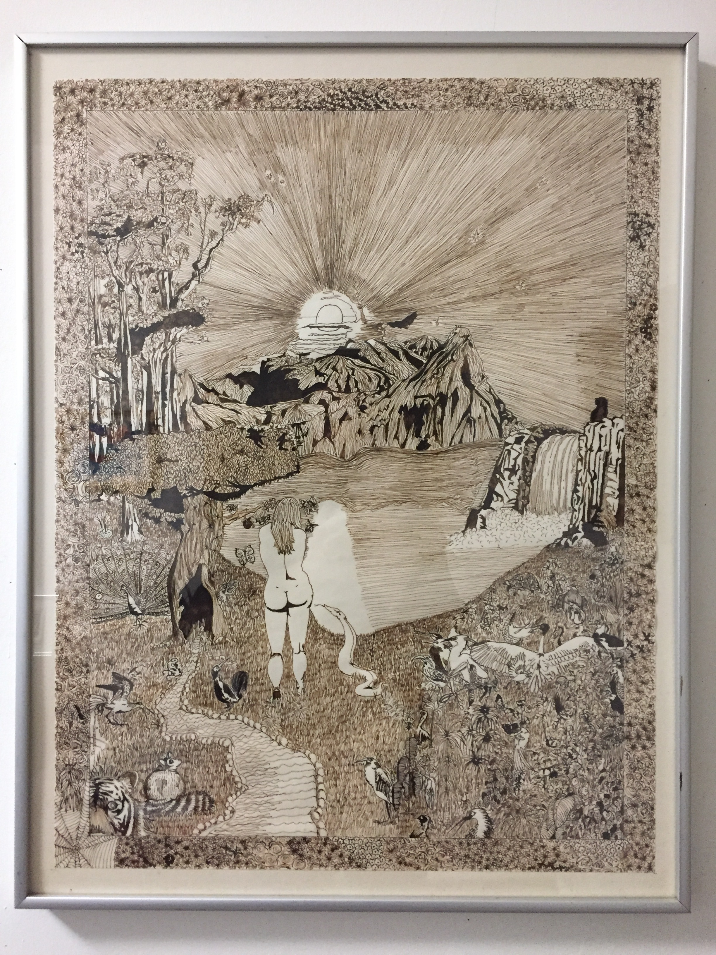 """Rick Kellough'Garden of Eden' - Ink on paper197520"""" x 25.5""""$125.00SOLD"""