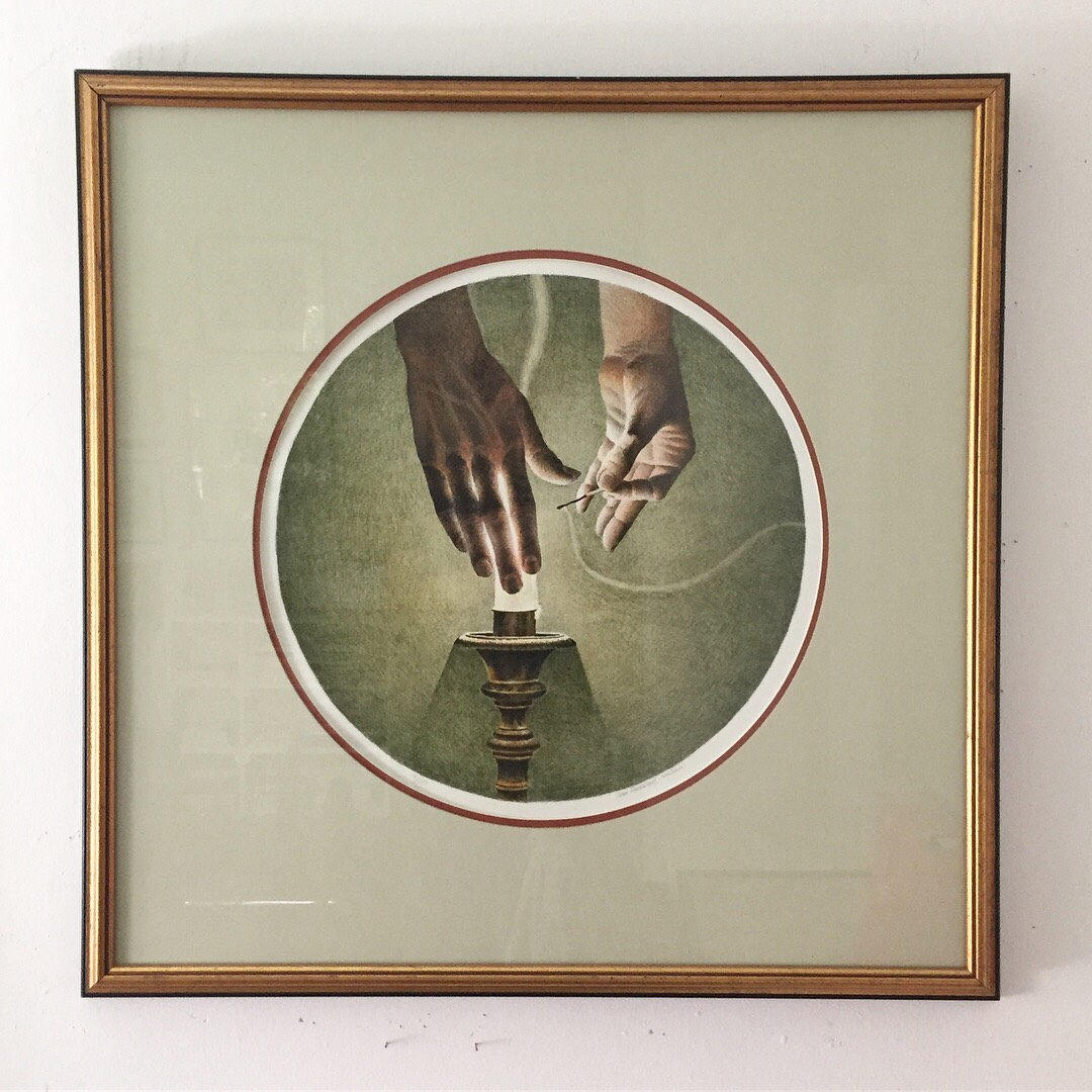 "Tom Forrestall(Canadian b. 1936) 'Lighting a Candle' - LithographNumbered 19/15018"" diameterFrame size 30""x30""Excellent condition$295SOLD"