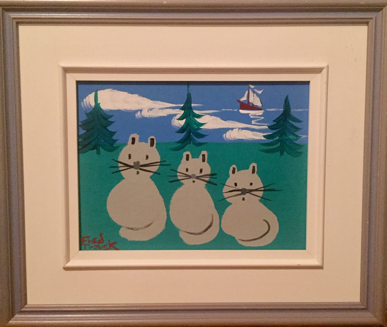 """FRED TRASK(CANADIAN B. 1946) '3 CATS DIGBY' - Acrylic on canvas board9"""" x 12""""Frame size 16.5"""" x 19.5""""Fred Trask is one of Nova Scotia's most prominent folk artists and was Maud Lewis' neighbour.$795.00SOLD"""