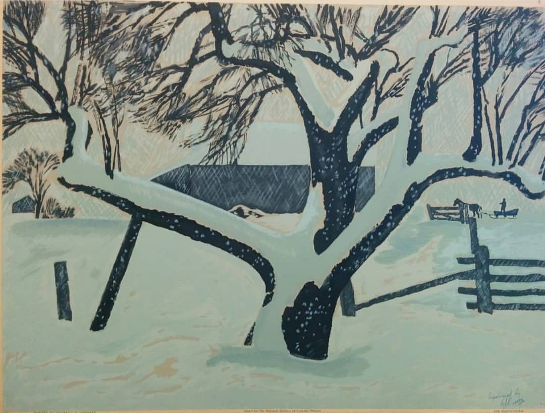 "Thoreau macdonald, the snowstorm, 1947 - Sampson Matthews Silkscreen20"" x 27"" Overall good condition with minor wear on edges and corner $195.00SOLD"