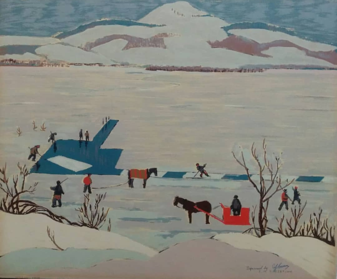 """Sarah robertson 'ice cutting' 1948 - Sampson Matthews Silkscreen21"""" x 25"""" Overall good condition with minor wear and yellowing on edges$225.00SOLD"""