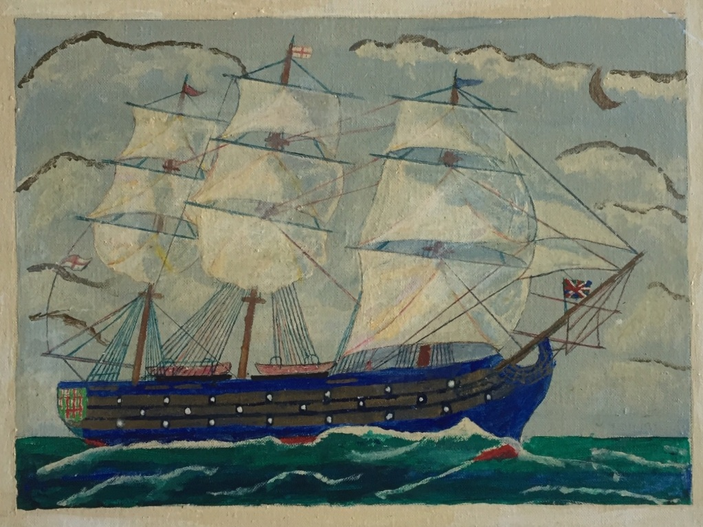 "Alex Falconer 'Lord Nelson's flag SHip' - Oil on canvas board, 196718"" x 14""Signed, titled and dated with written description by the artist on the back.Good condition with minor surface discolouration.$175.00SOLD"