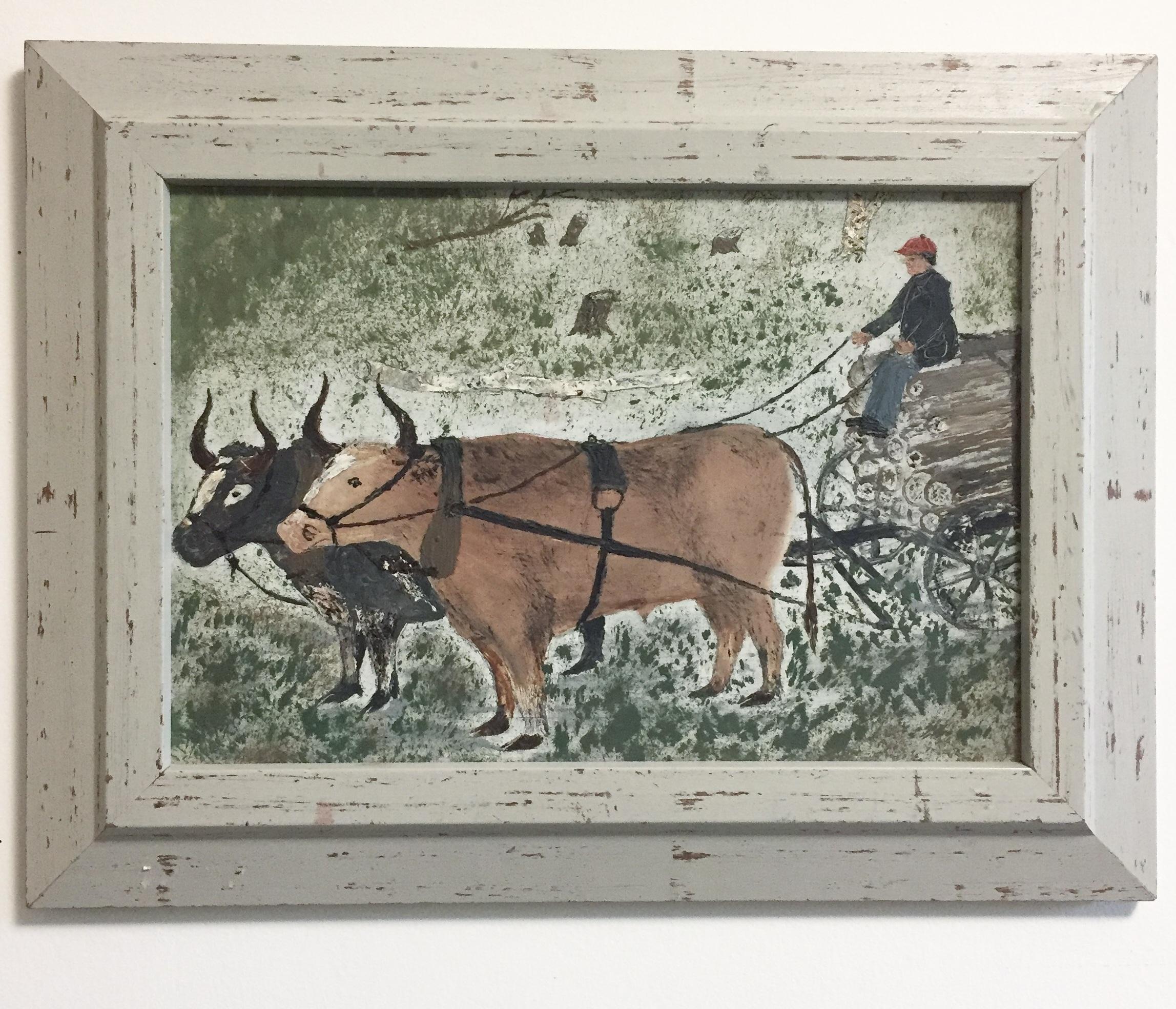 Canadian folk painting - Canadiana folk oil on board8