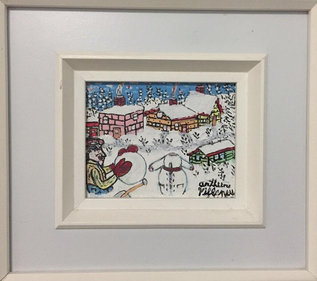 "Arthur Villeneuve'building a snowman' - Acrylic on canvas board19864"" x 5""$900.00SOLD"