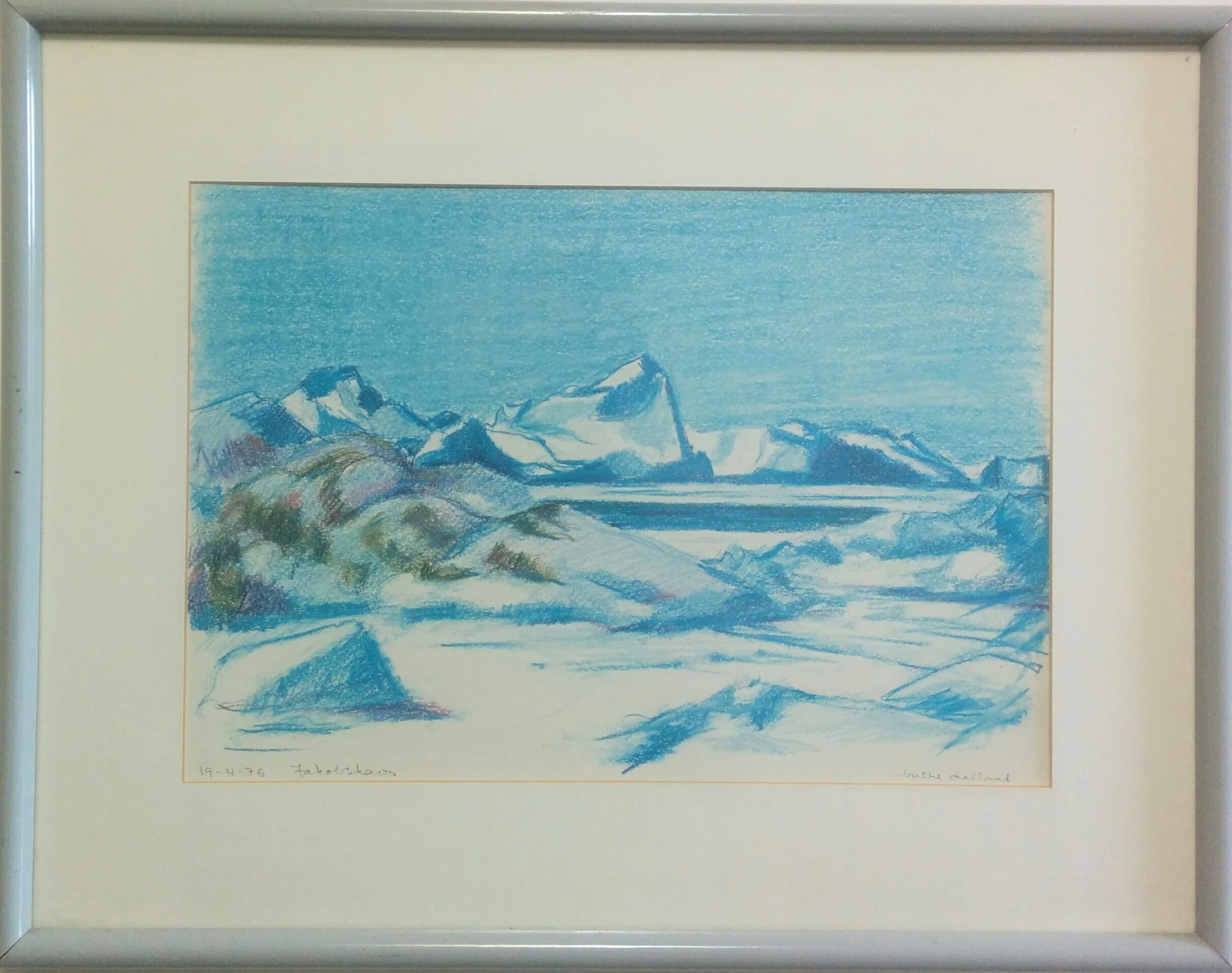 "Birthe Dalland (Danish)  - Pastel on paper, 197611"" x 16"", dated and titled lower left, framed.Signed lower right, dated and titled lower left. 19th century British school.$195.00  SOLD"
