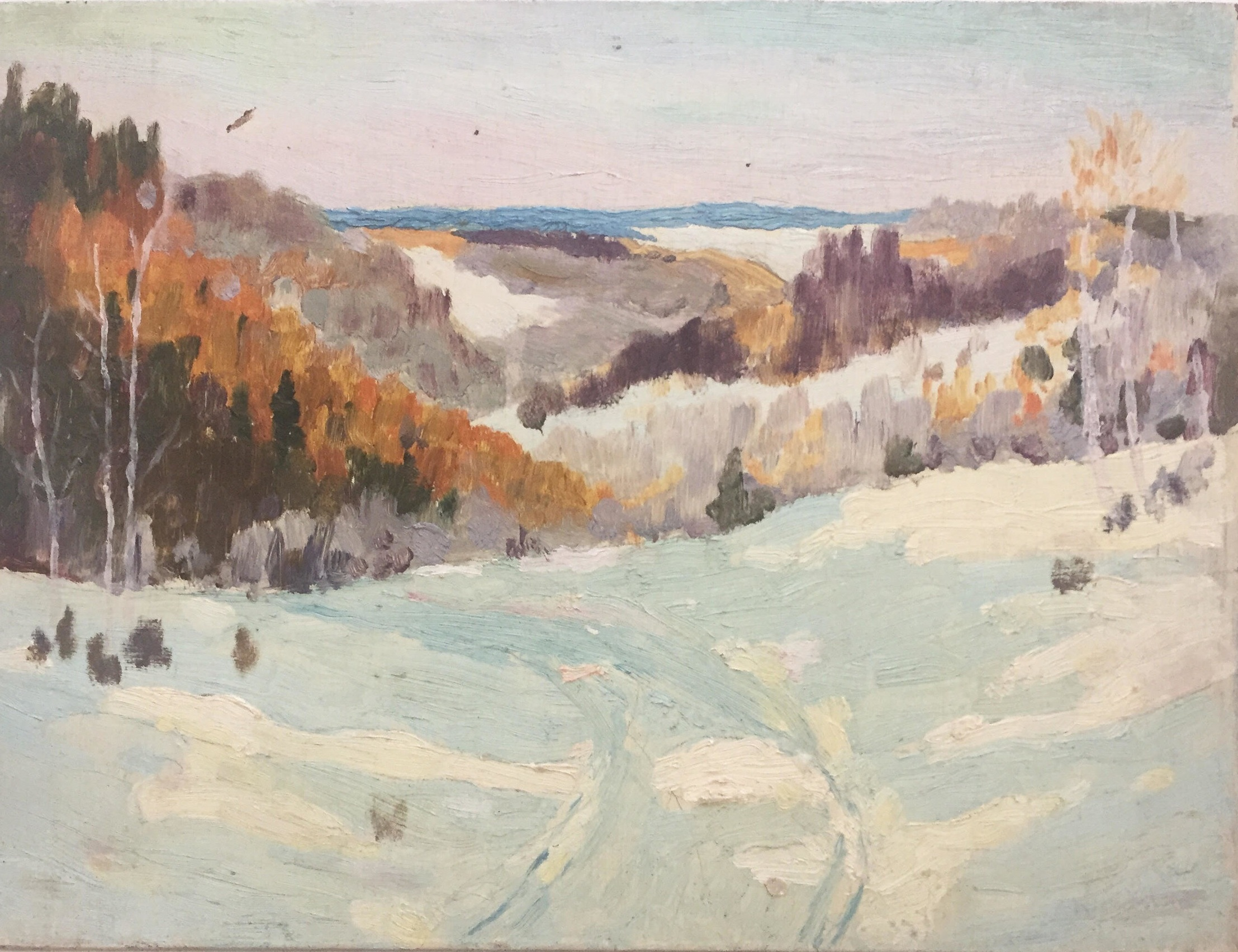 Winter Scene - Oil on board, 1930s-40s, 8.5