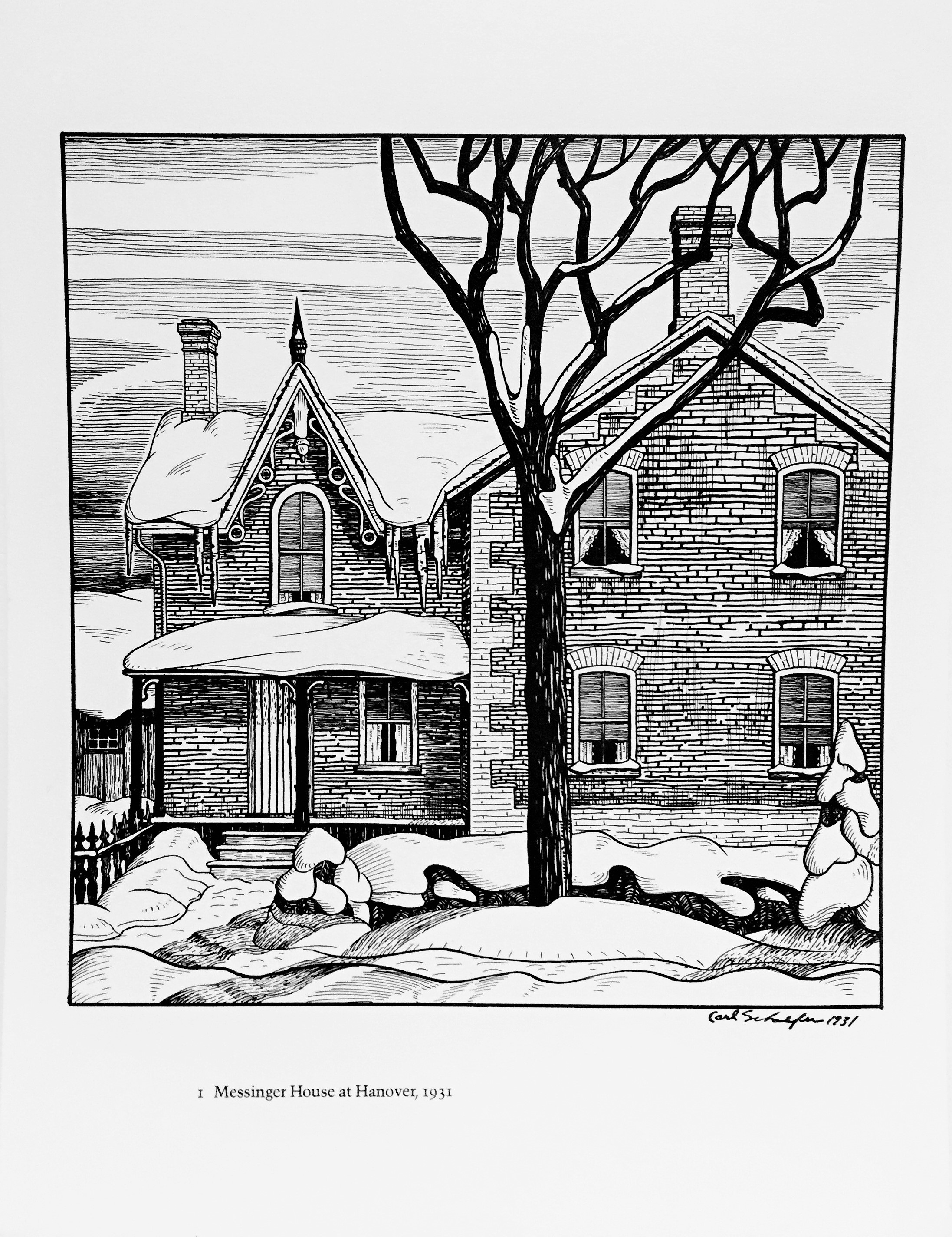 """Carl Fellman Schaefer '12 Farm Drawings 1927-1932' - offset prints on japan paper.""""Messinger House at Hanover"""" (1931); """"Barn and Silo"""" (1929); """"Farm House and Garden near Hanover"""" (1929); """"House at Barrie"""" (1931); """"Ontario Farm House and Garden, Hanover"""" (1928); """"Ontario Farm"""" (1929); """"Sunday Morning, Hanover"""" (1929); """"Farm House near Bathurst Street"""" (1932); """"Houses at Hanover"""" (1929); """"Farm House, Hanover"""" (1927); """"The Garden, Hanover"""" (1927); """"Farm Land, Hanover"""" (1929);Each signed and dated within the plate; signed and numbered by artist 109/300 on title page; Published by Penumbra Press, Moonbeam, 198013 x 10 ins each sheet.Very good condition. Top spine of envelope torn and very minor handling mark on title page.$225 for the set"""