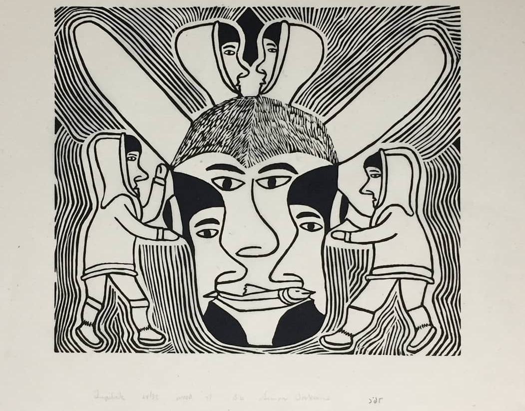 Simon Tookoome, 'Tupilak' - Woodcut, 1998 Signed, dated, edition 24/32Paper size 21