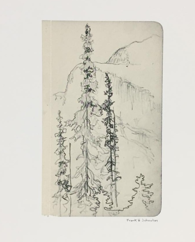 """Franz Johnston (Francis Hans Johnston, 1888 –1949) - Canadian artist associated with the Group of Seven. """"Western Sketchbooks"""", first edition, 1970.Folio of 8 reproductions from Johnston's 1924 sketchbooks depicting Banff, Lake Louise etc. 15"""