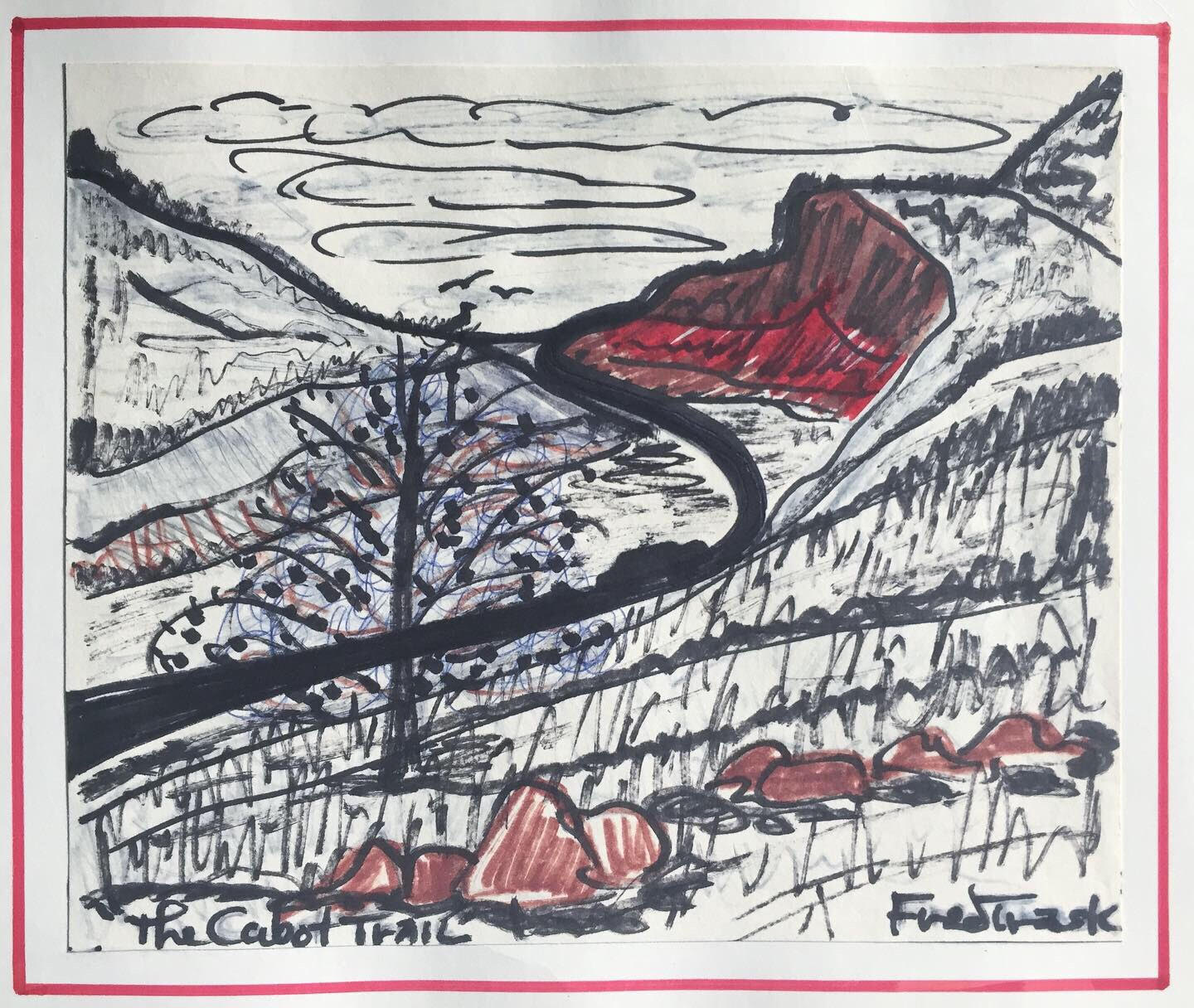 """Fred Trask 'The cabot trail' - Pen and marker on paper adhered to card stock, signed and titled, image 7""""x8.5"""".Good condition. Labeling on back. Unframed..$150.00SOLD."""
