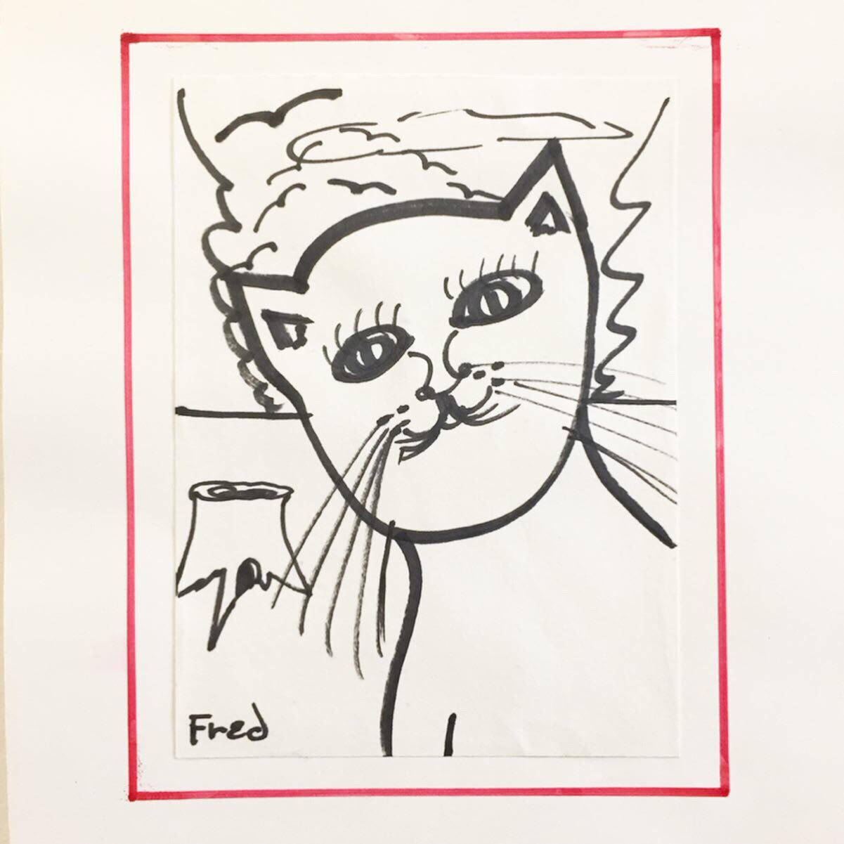 """Fred trask, 3 cat drawings - (Canadian 1946-), marker on paper adhered to heavier paper with hand drawn marker border. Each approx 7""""x5"""" (image). Unframed.Good condition with minor adhesion inconsistencies and markings on borders not affecting images.$275.00 for the set of 3SOLD"""