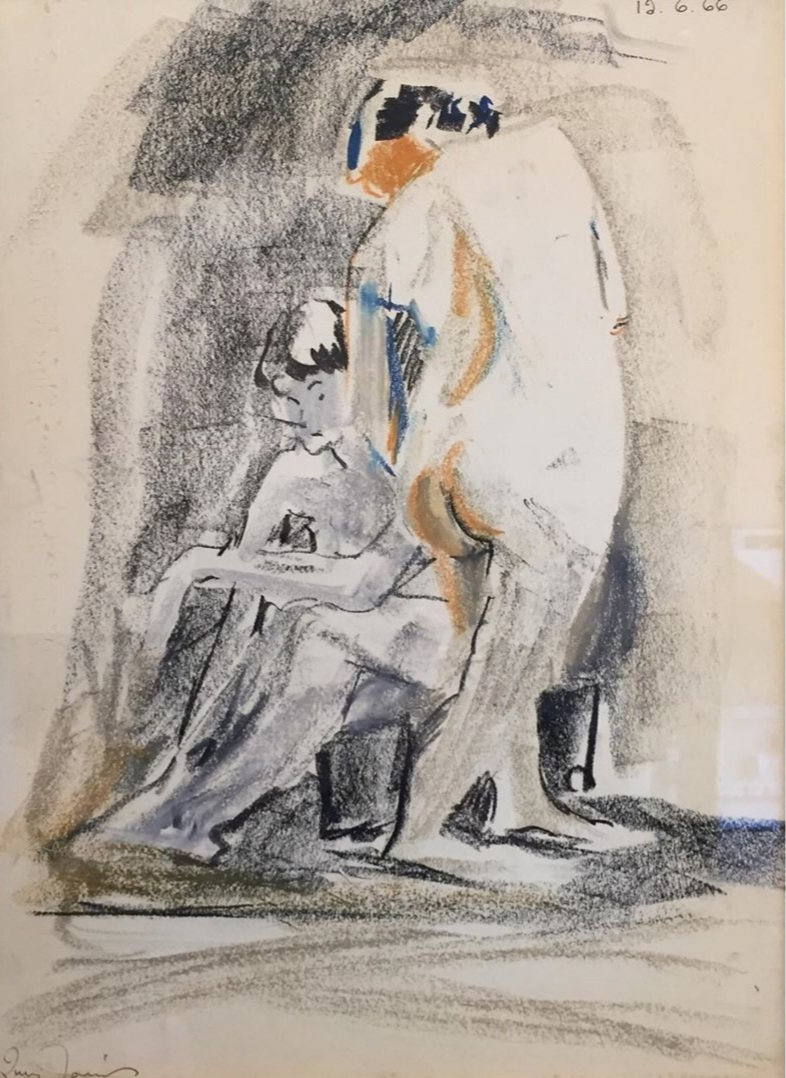 """Lucy Jarvis (Canadian, 1896-1985) - Figure study, 1966, pastel on paper. Image 15""""x11"""". Excellent condition.Jarvis founded the Observatory Art Center at the University of New Brunswick with fellow artist Pegi Nicol Macleod. Her work is included in numerous collections including the National Gallery of Canada."""
