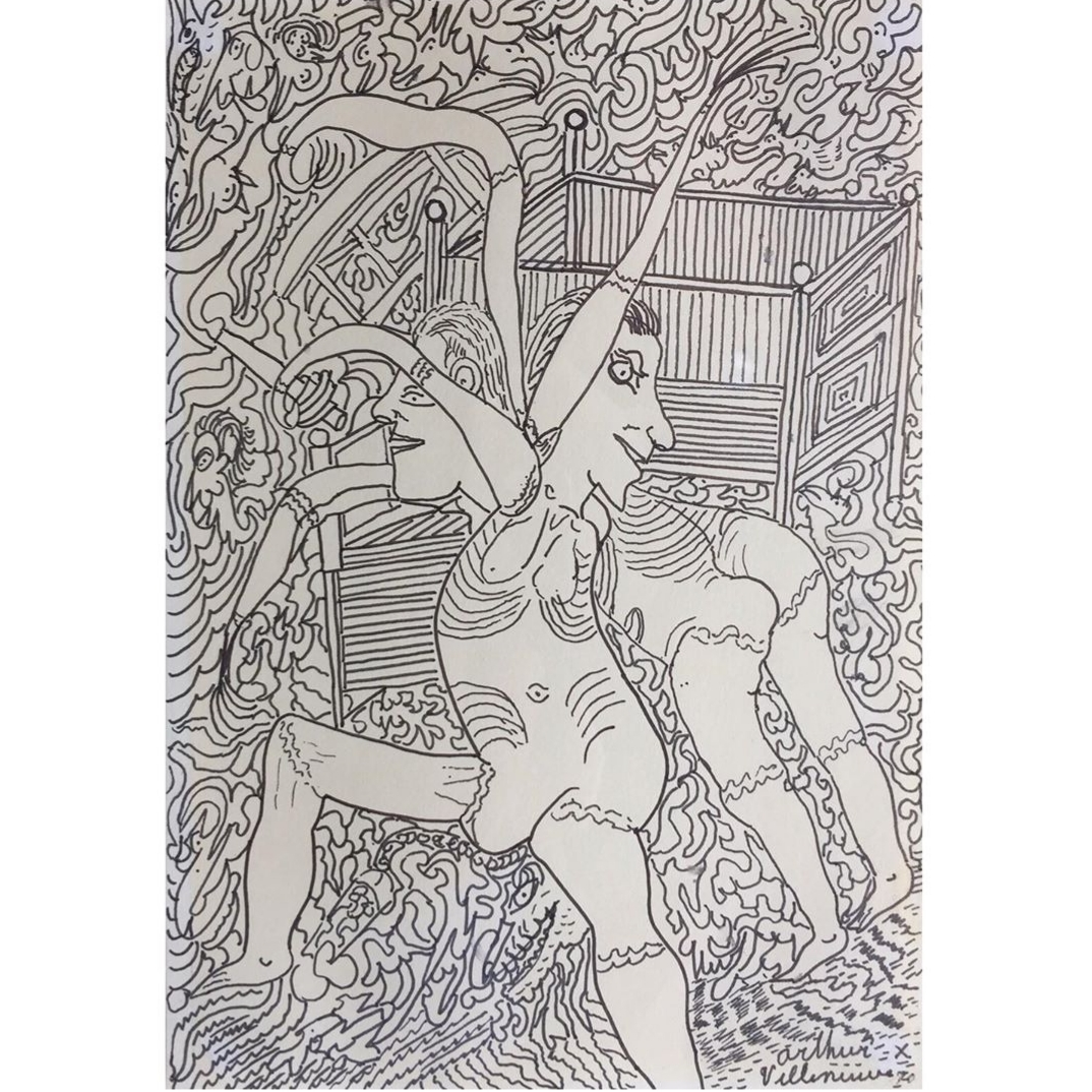 """Arthur villeneuve (canadian 1910-1990) - Ink and wash on paper, 1970, 9.5"""" x 6.75"""". Good condition.Rare erotic drawing by one of Canada's most celebrated folk artists.$850.00"""