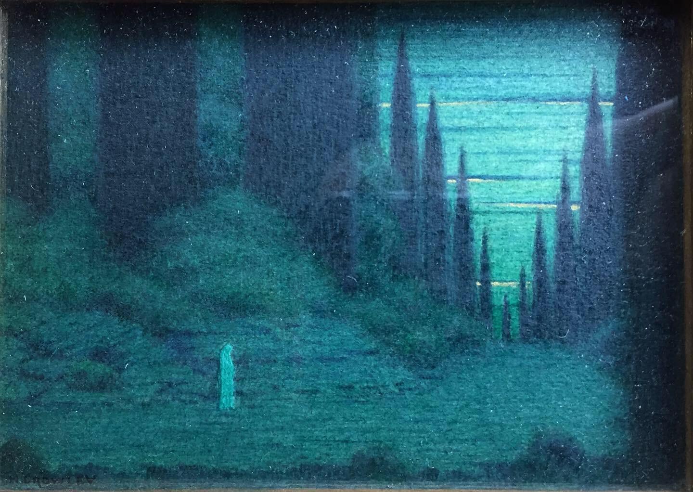 "Herbert E. crowley (british, 1873-1937) - 'Through the Still Night', 1913watercolour, 3"" x 4.25"""