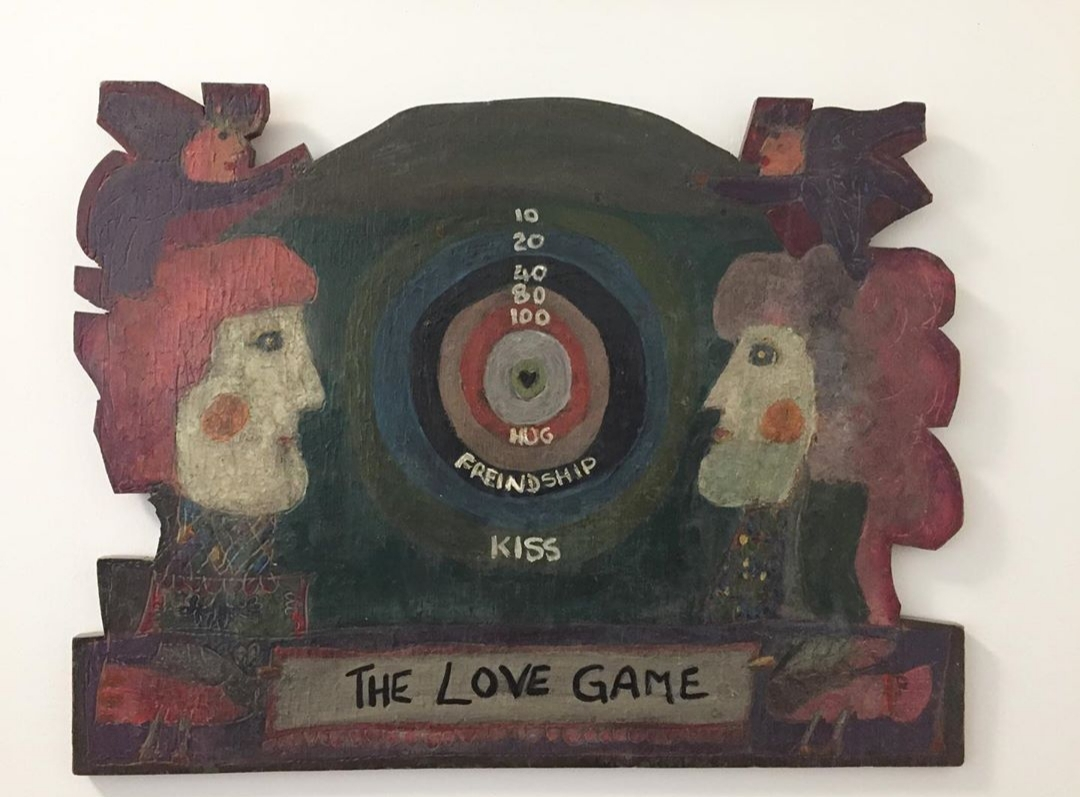"attributed to norman laliberte 'The love game' - Oil on wood1960's21"" x 27.5"""