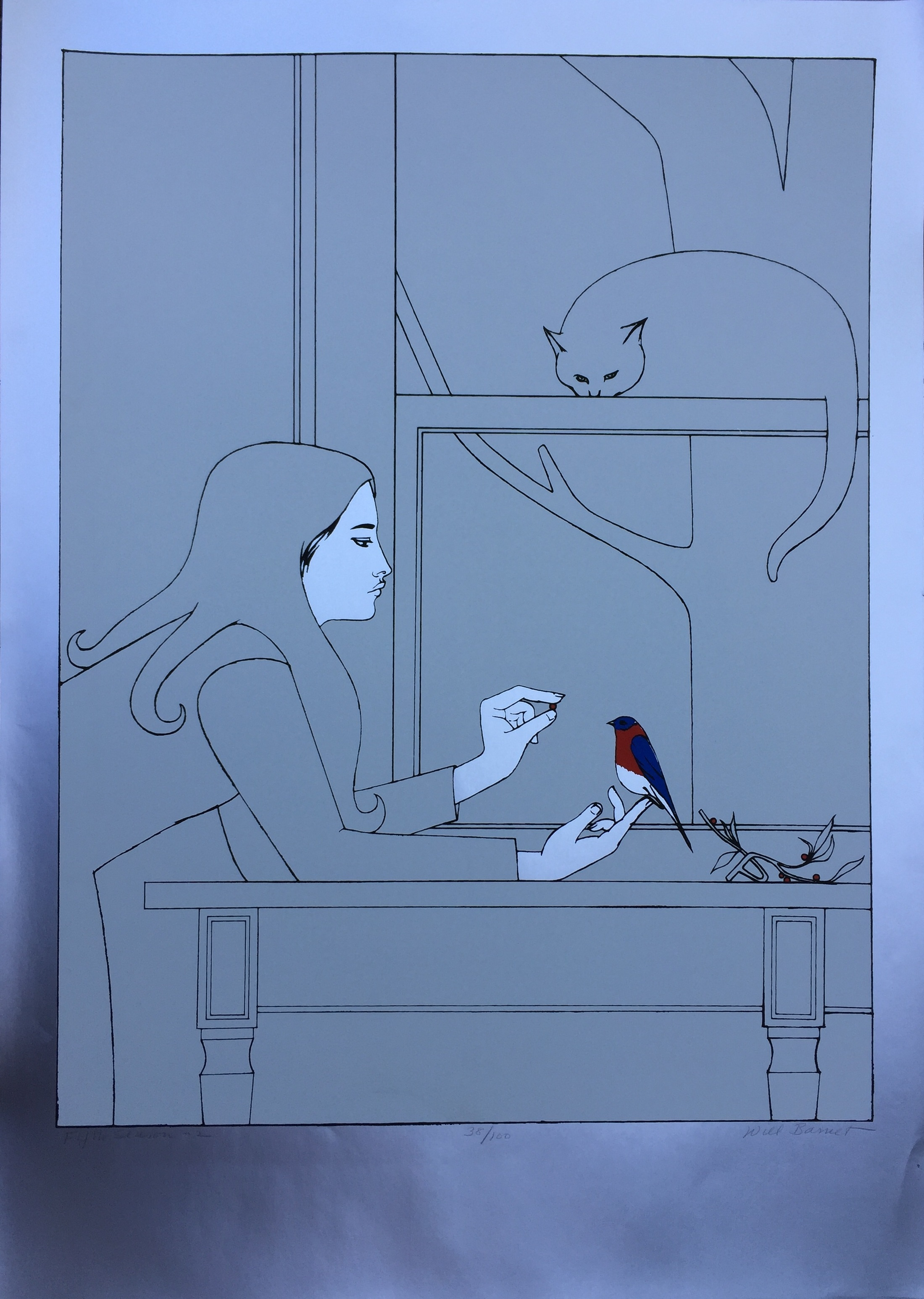 """Will barnet (American 1911-2012) 'fifth season 2' - lithograph on paper with foil embellishmentsed. 38/10026"""" x 33""""unframedminor paper crease, bottom right"""