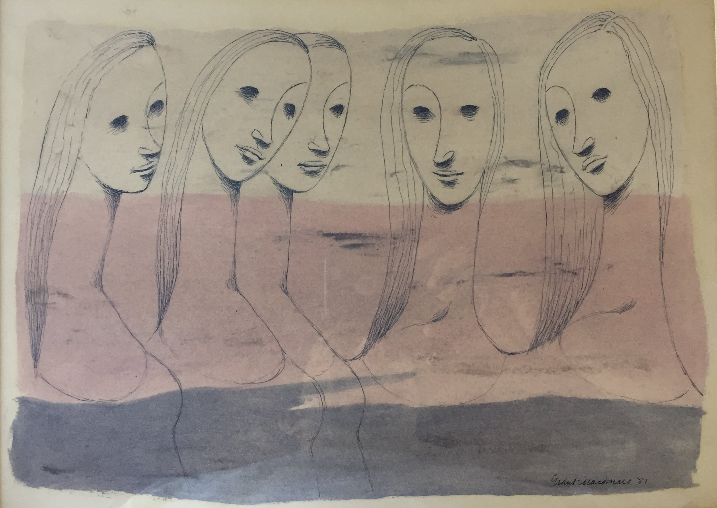 """gRANT mACdONALD (cANADIAN 1909-1987) 'Five heads' - ink and oil stain on paper195113.5"""" x10"""" image sizeGallery David label and studio stamp on back"""