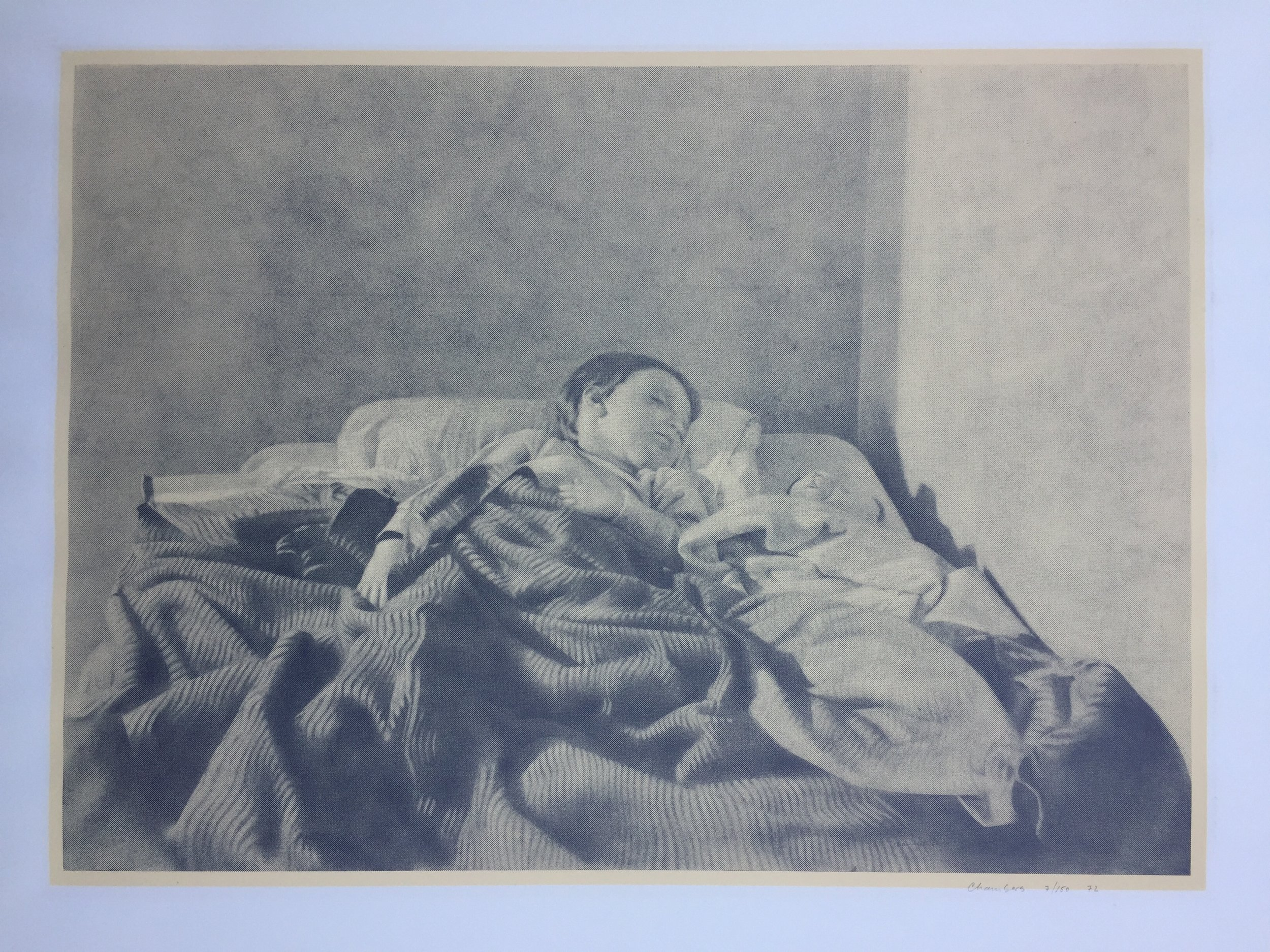 """jack chambers 'diego sleeping' - lithographsigned, dated 1972 and numbered 7/15014.25"""" x 19.75"""""""