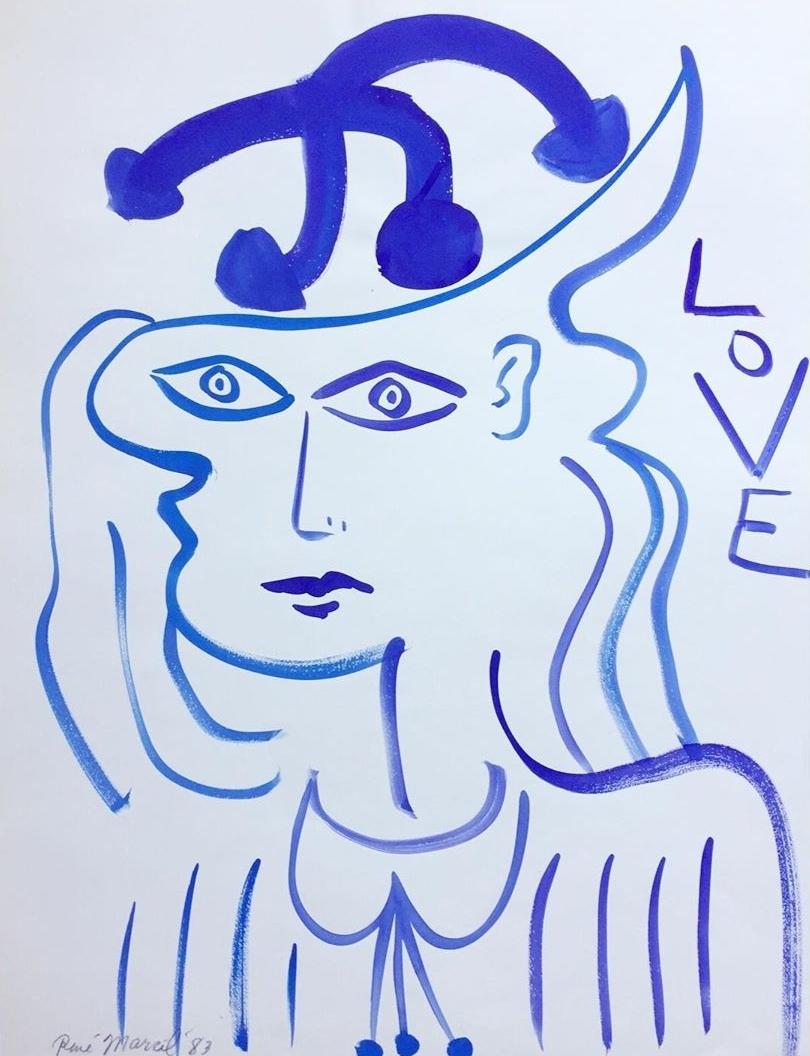 """RenÉ Marcil - watercolour on paper198325.5"""" x 19.5""""unframed"""