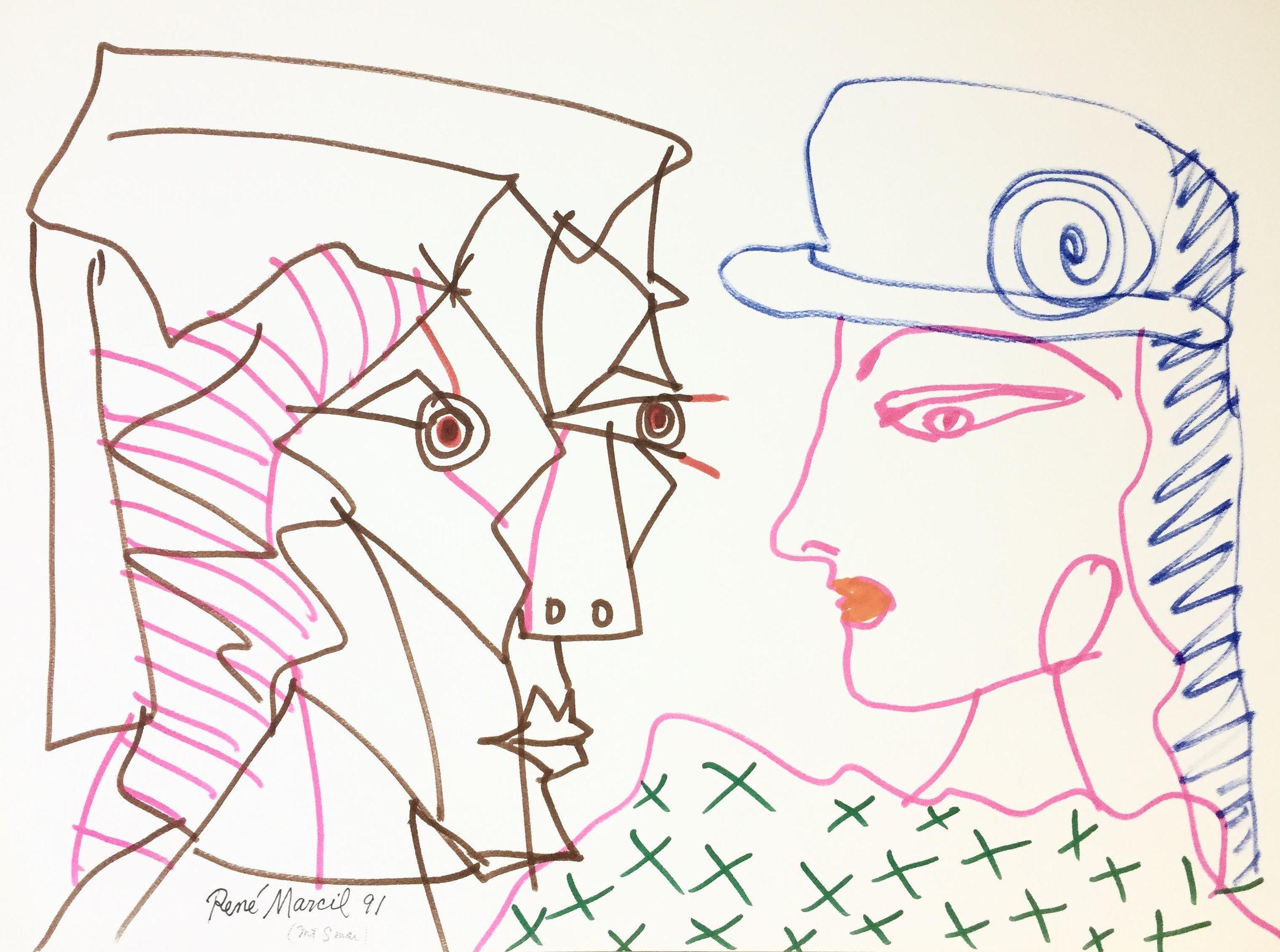 """RenÉ Marcil 'Untitled (Mt. sinai)' - marker on paper24"""" x 18""""signed by the artist, inscribed 'Mt. Sinai'unframed"""