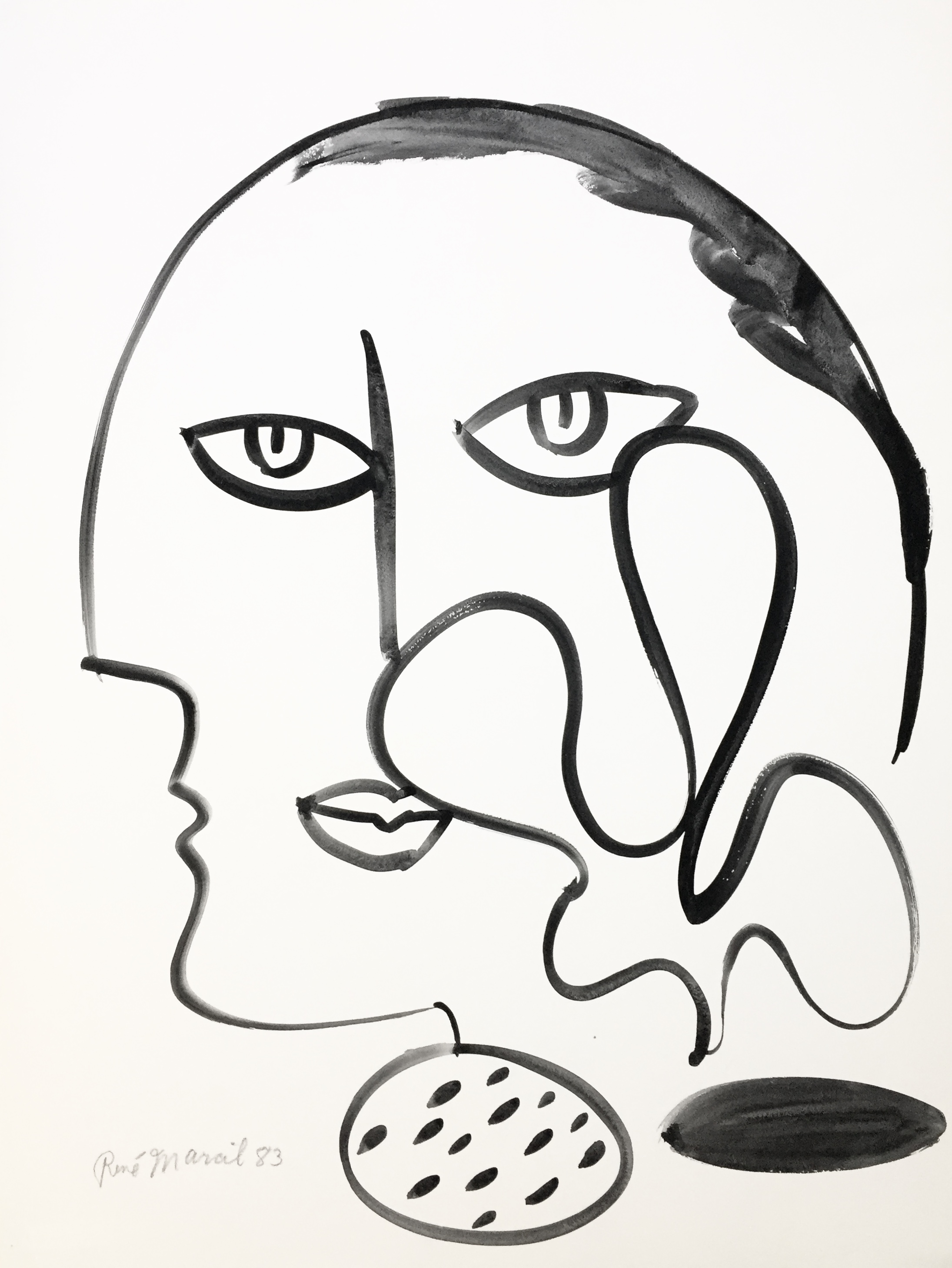 "RenÉ marcil 'untitled (Black & White)' - watercolour on paper25.5"" x 19.5""unframed"