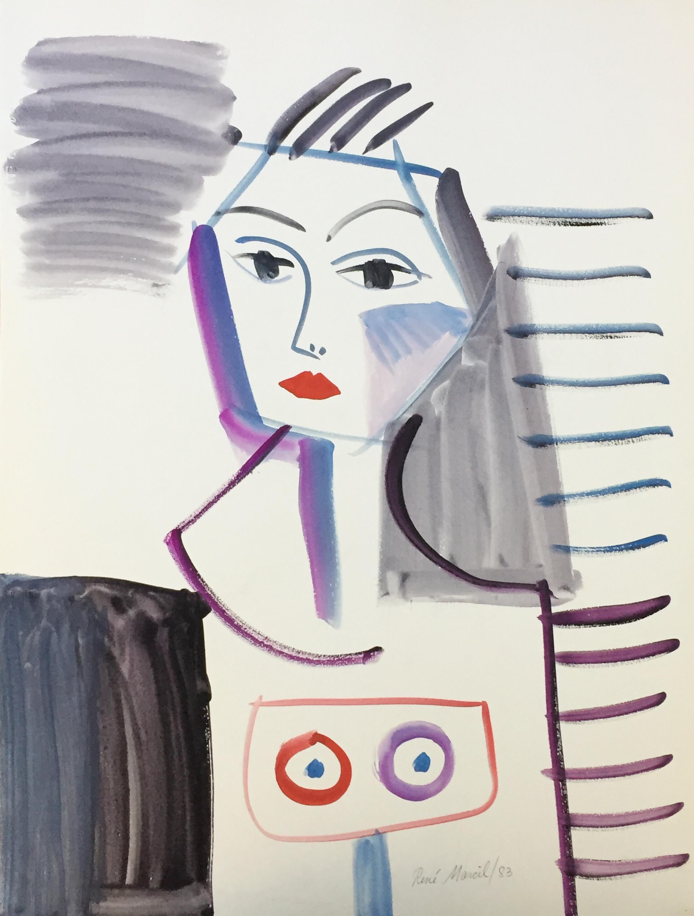 "RenÉ Marcil 'Untitled (woman)' - watercolour on paper198325.5"" x 19.5""unframed"
