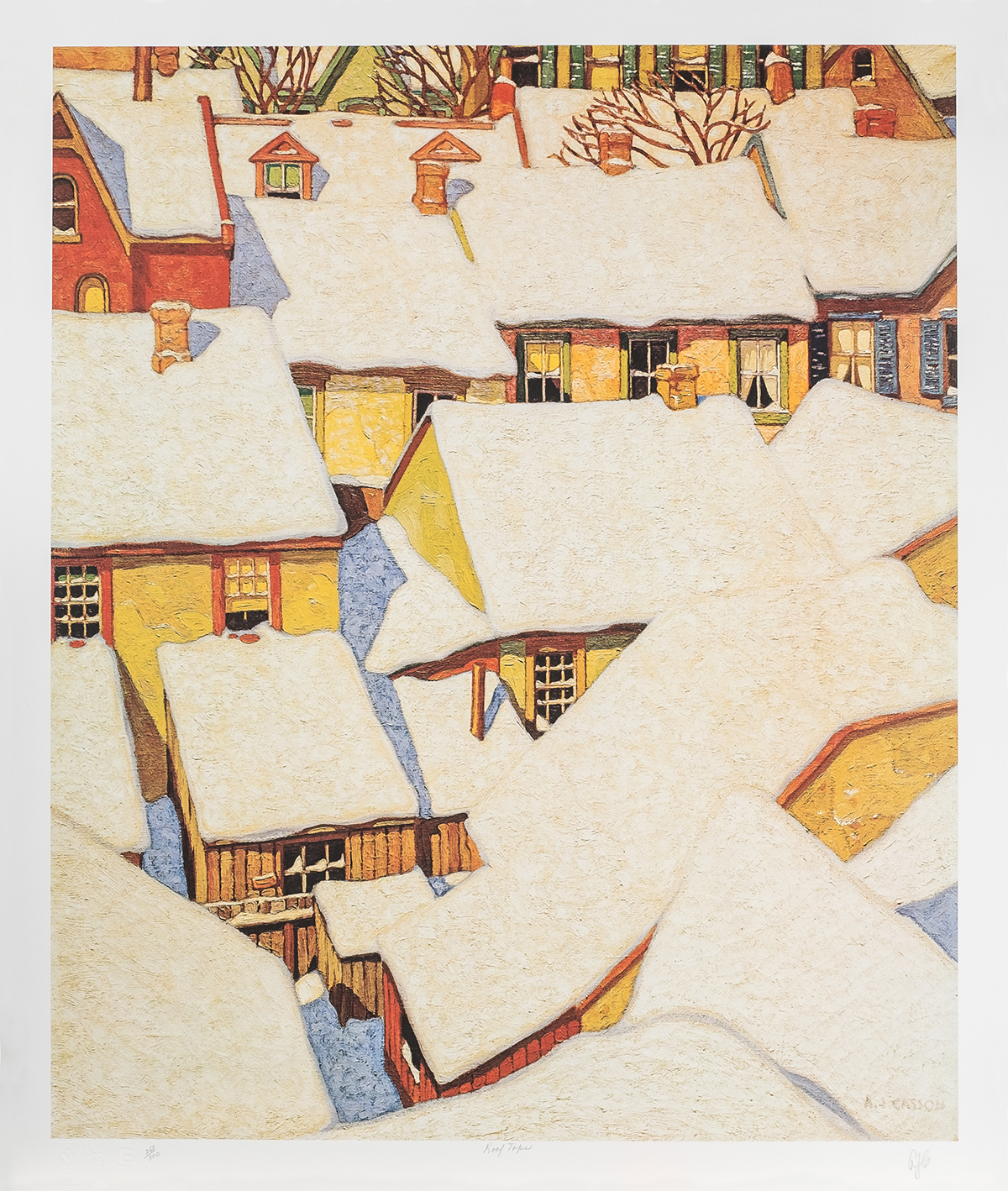 """a.J. Casson 'Rooftops in the ward' - (Canadian, 1892-1992)Signed lithograph, unframedLimited edition from the Ontario II Series24"""" x 20"""""""