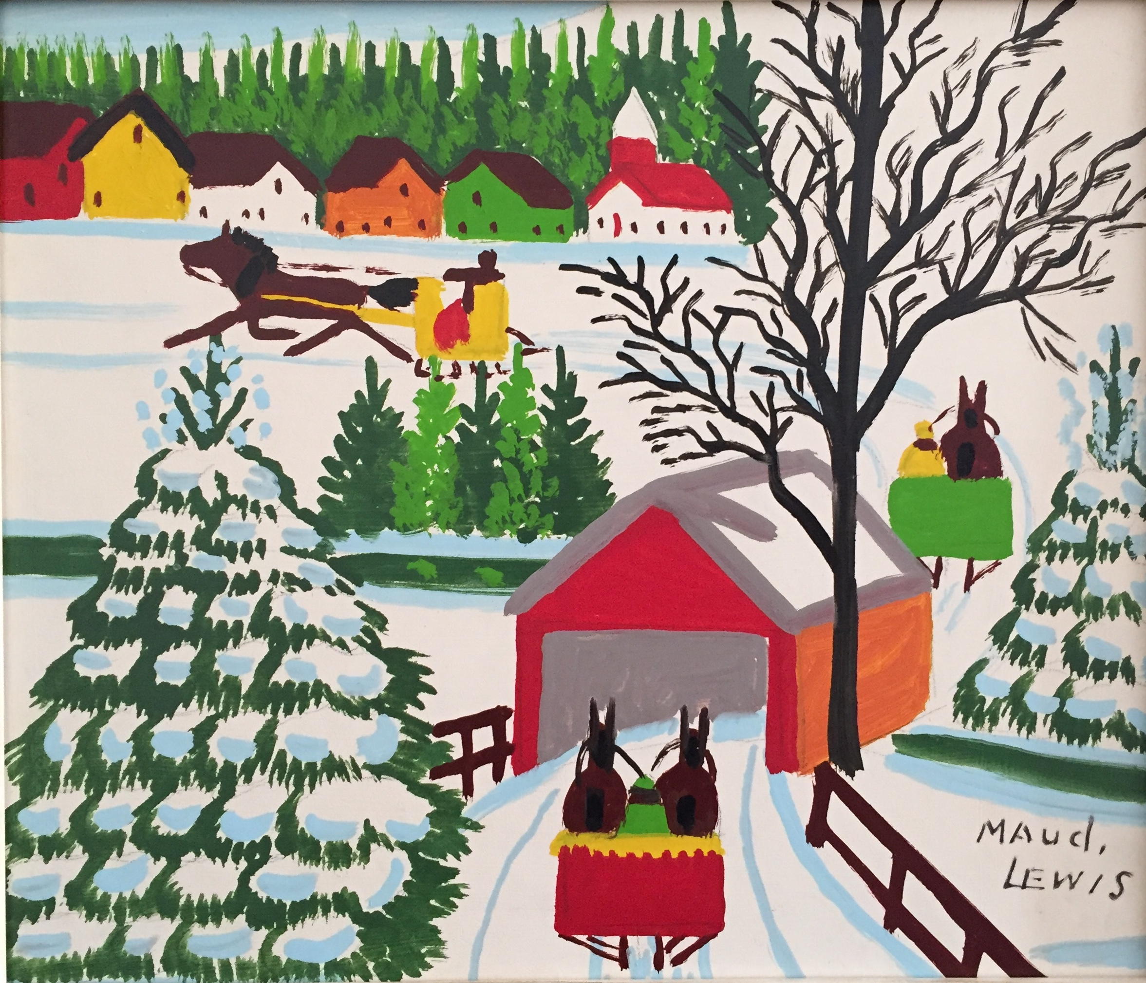 """maud lewis 'sleighs and covered bridge' - oil on board12.25"""" x 14.25""""excellent condition"""