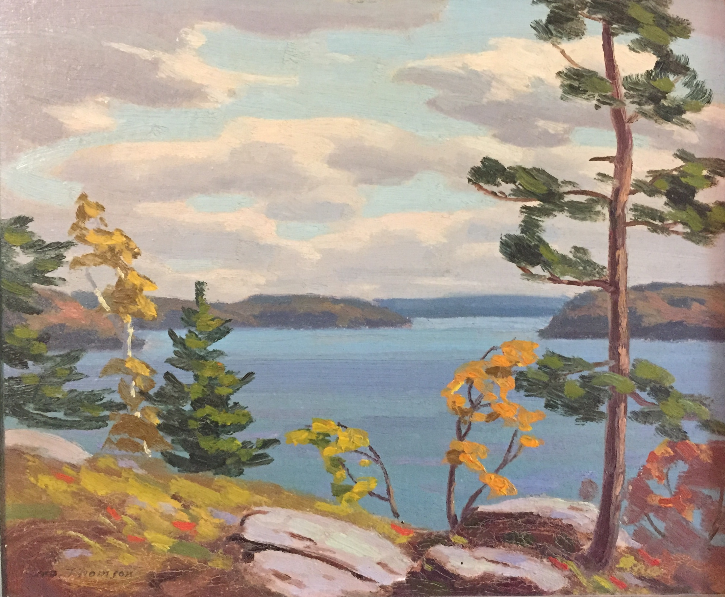 "george thomson 'lake muskoka' - (1865-1965, brother of Tom Thomson)10"" x 11.5""oil on boardsigned Geo Thomson lower left"