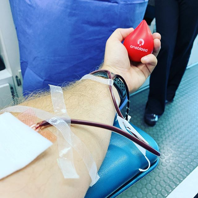 Giving blood with @myoneblood today!