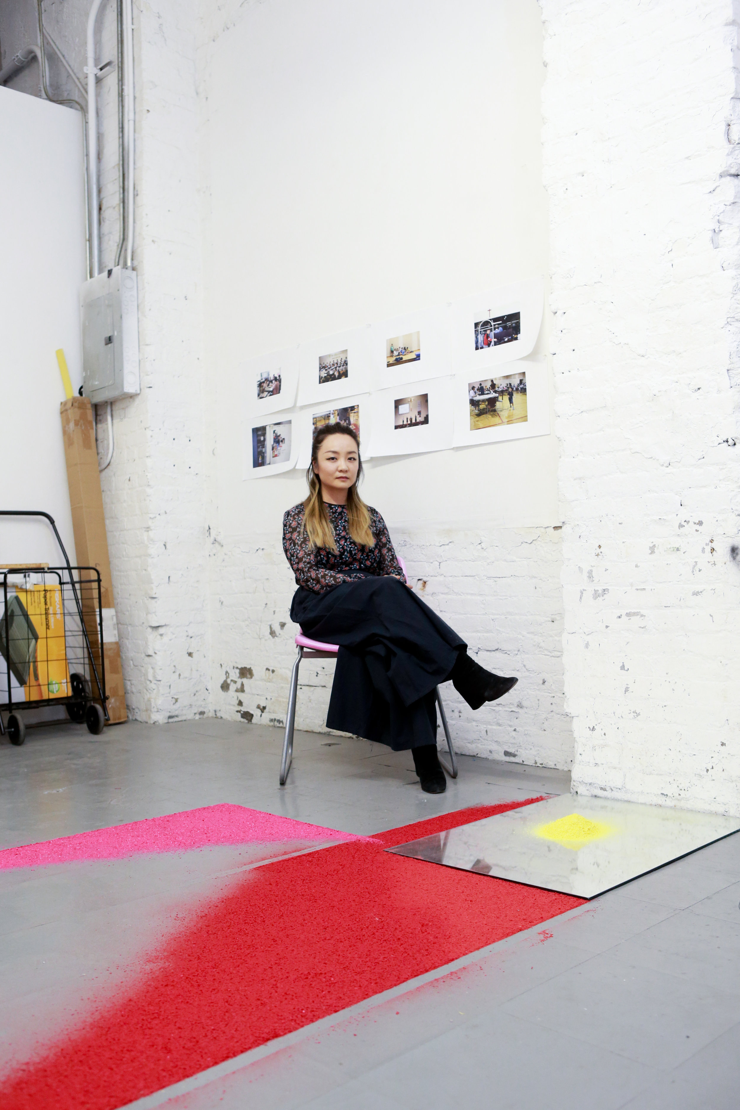 Gyun in her current studio at NARS Foundation, Brooklyn, NY