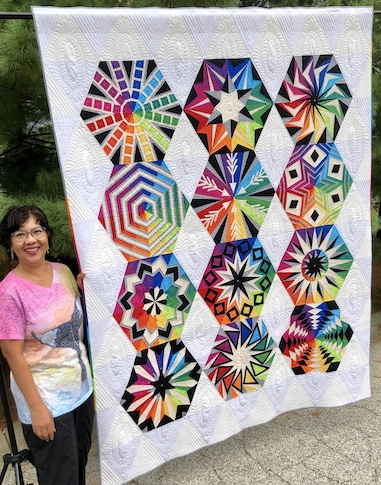 Maryam Othman created this year's stunning raffle quilt. Come see it at our Sept. 3, 2019 meeting.