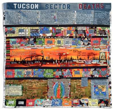 """""""TUCSON SECTOR 2001-2002,   163 deaths"""" made by Cornelia Bayley of Green Valley, Arizona, 44.5″ h x 47″ w."""