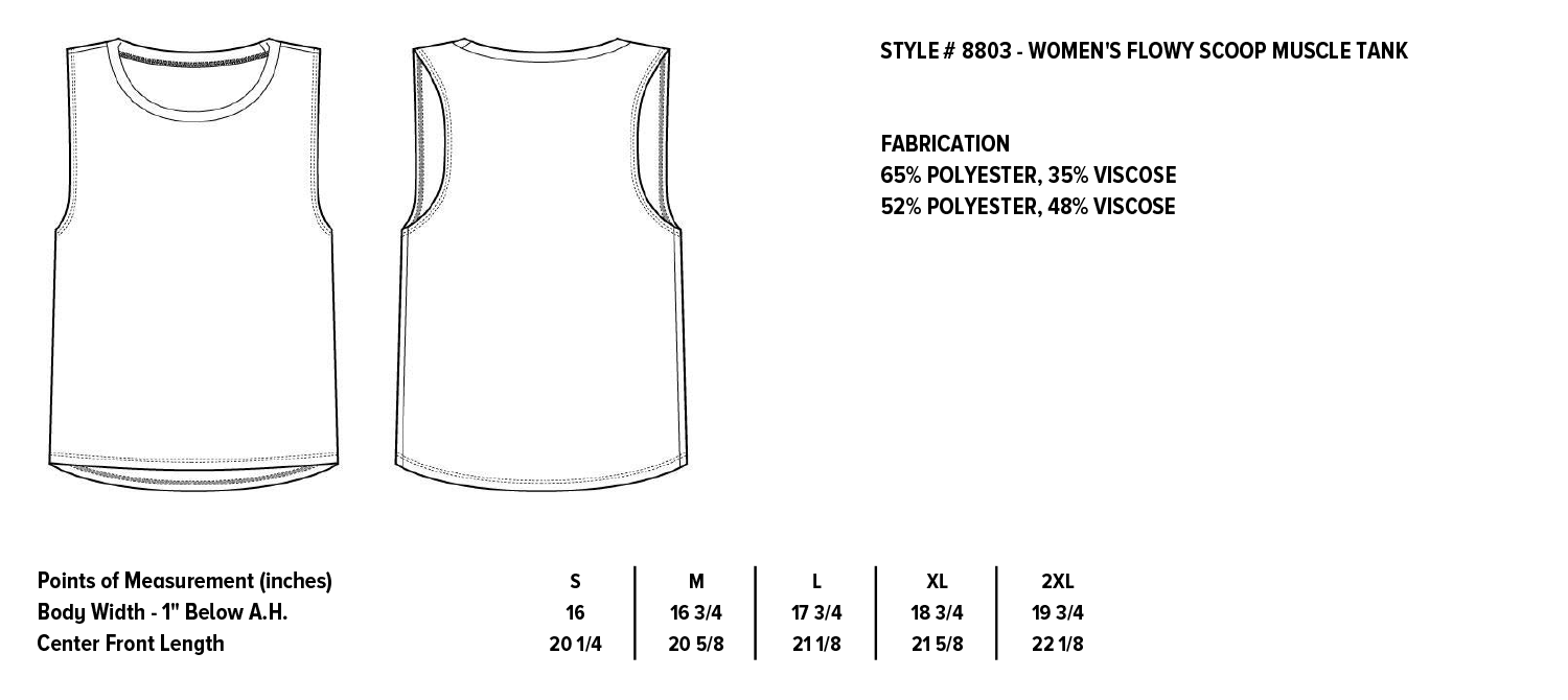 Women's Flowy Scoop Muscle Tank  |  Bella + Canvas Apparel Sizing for Grateful Gypsy  |  Free-spirited, Eclectic, Handmade apparel with bohemian flair
