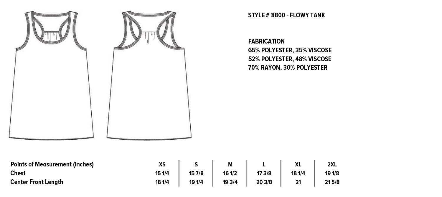 Women's Flowy Racerback tank  |  Bella + Canvas Apparel Sizing for Grateful Gypsy  |  Free-spirited, Eclectic, Handmade apparel with bohemian flair