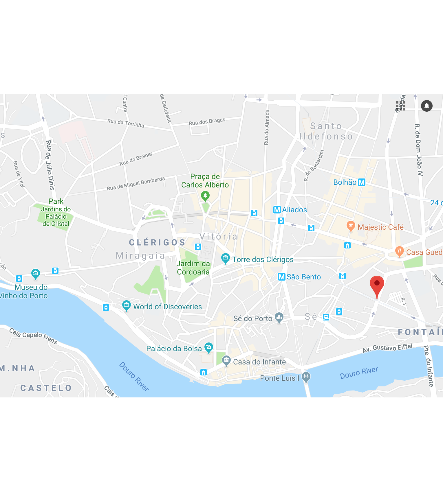 Address: - Rua Do Duque De Loulé 185-187Porto 4000-325We are situated at walking distance of any main hot spot in the city center. Yes, this with some up and down hills. The complete opposite side of the City (Palacio de Cristal)is just 2.1km away.If you take public transport, there are metro stations within 5min walk. The bus terminal is just 50m down the street.We believe our area is upcoming, between the city center and Bonfim (a quiet, relaxed place to stay).Also most of the Specialty Coffee of Porto is in this Area.