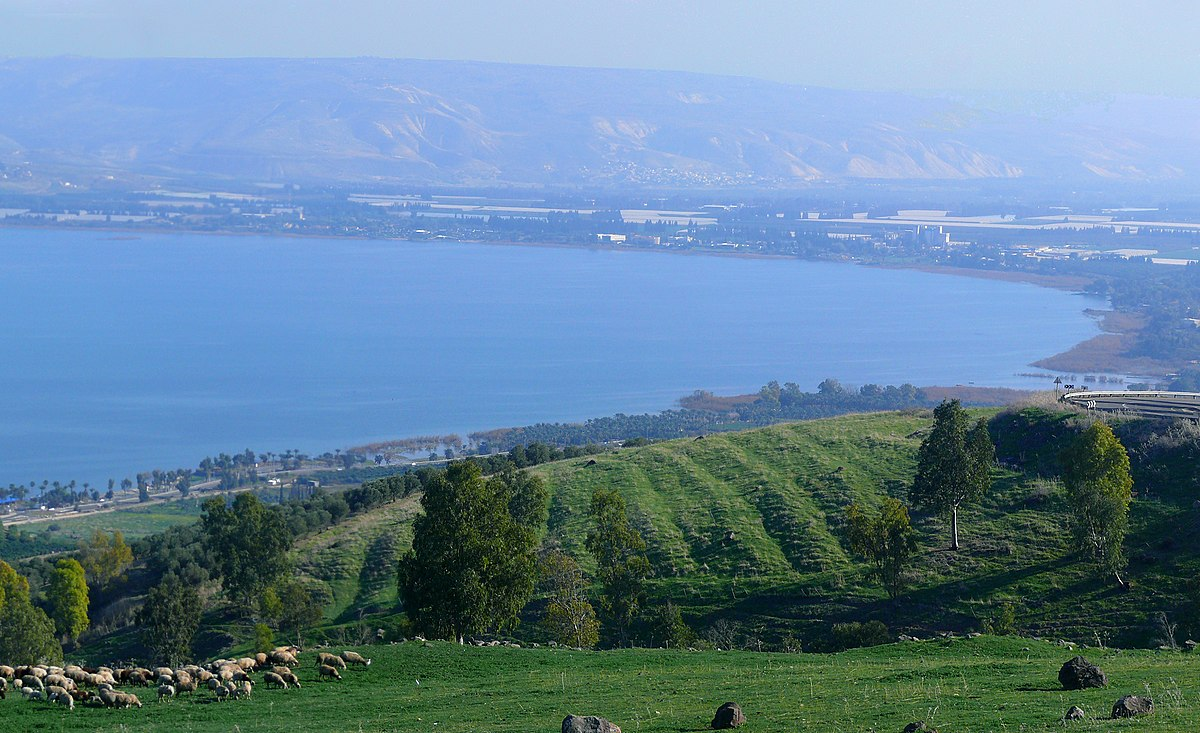 The southern portion of the Sea of Galilee (Kinneret).