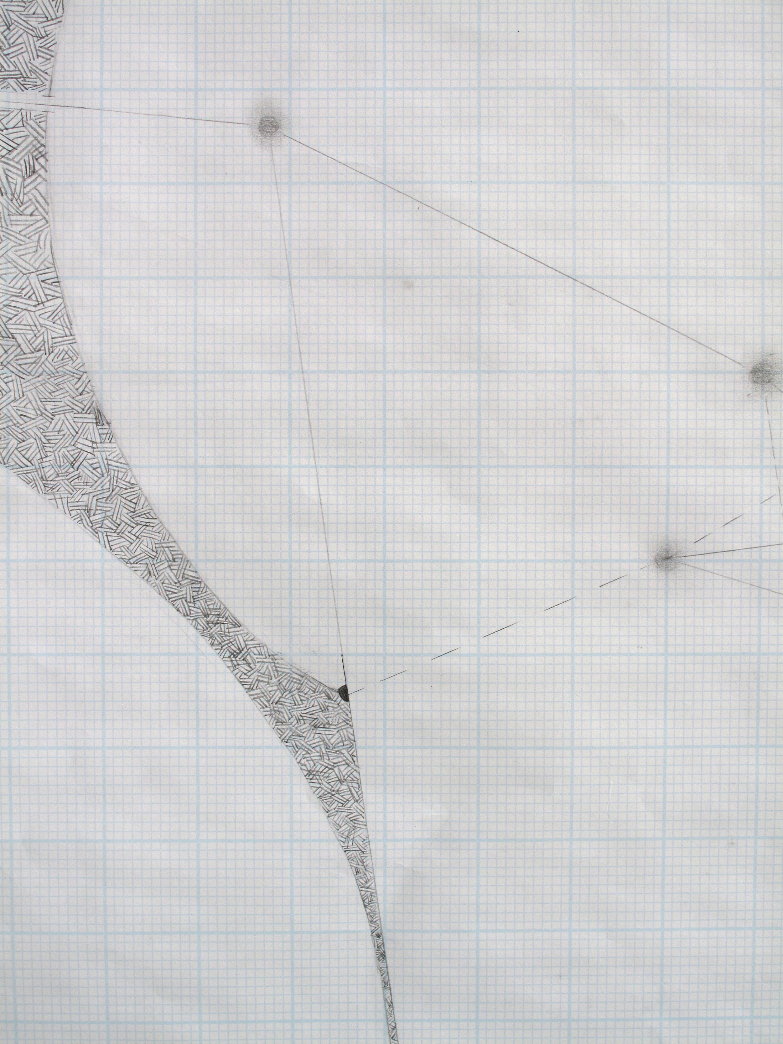 """Studies in Space, Detail    Graphite on Graph Paper; 17"""" x 22"""" (from series of 4)"""