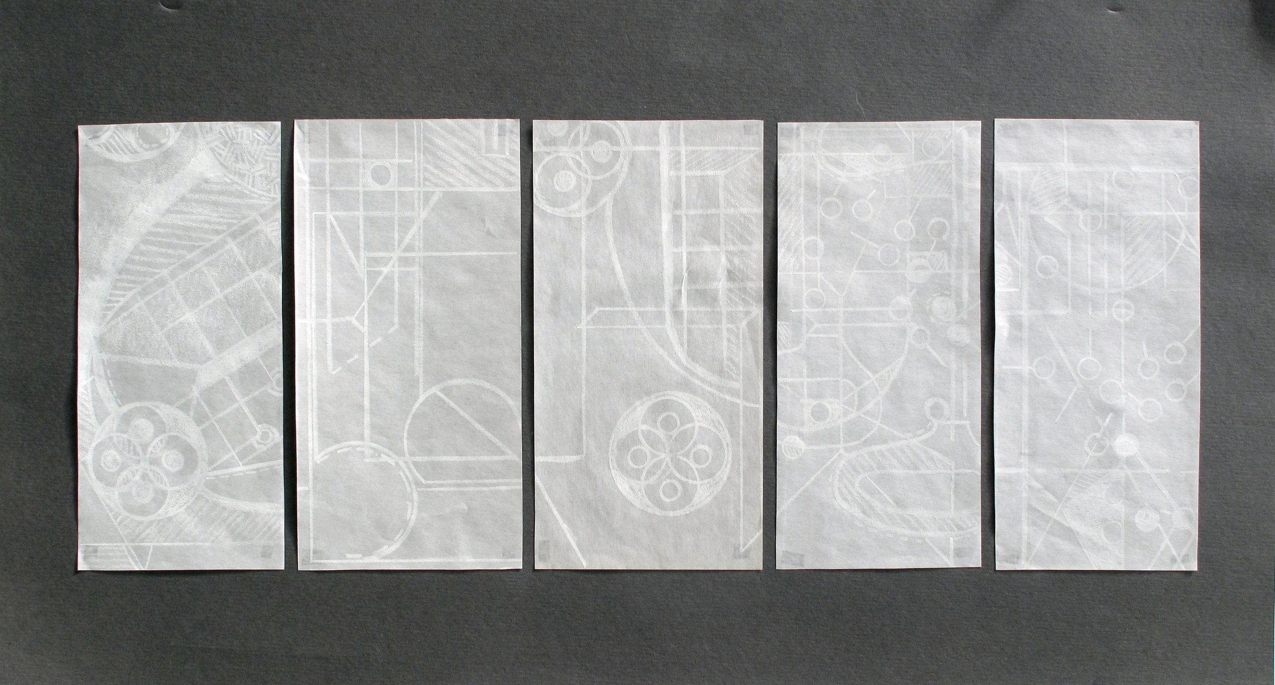 """Circuits in Space   White Pencil on Tracing Paper, Mounted on Grey Paper; 8 1/2"""" x 16"""""""