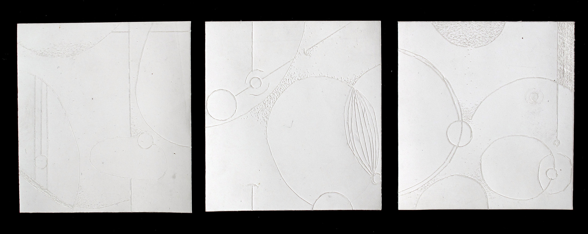 """Spatial Studies - Triptych   Incised Paint Chips; 2 1/2"""" x 7 1/4"""""""