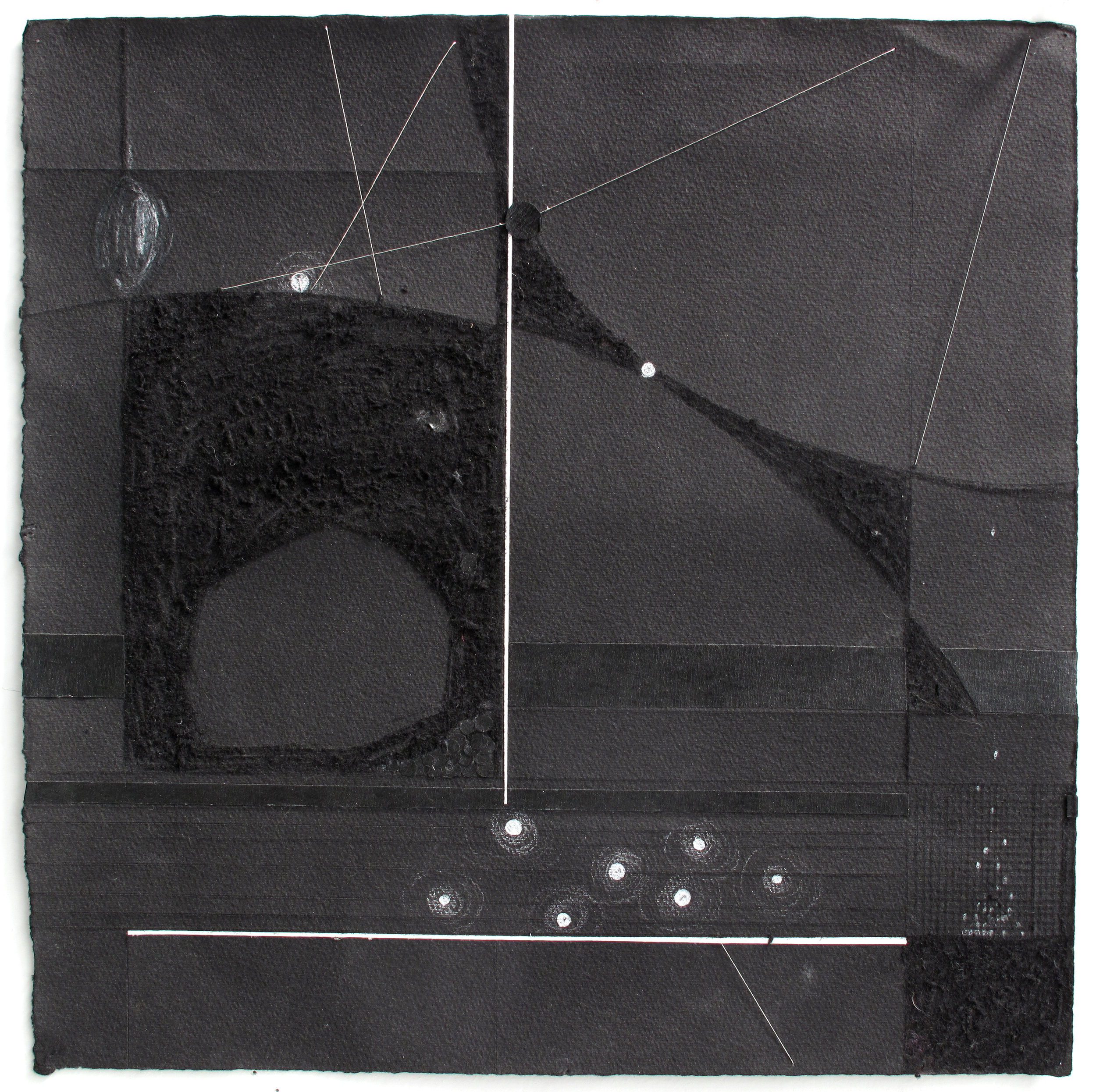 """Light & Space   White Pencil, Silver Thread, Tape, Incised Black Paper; 12"""" x 12"""""""