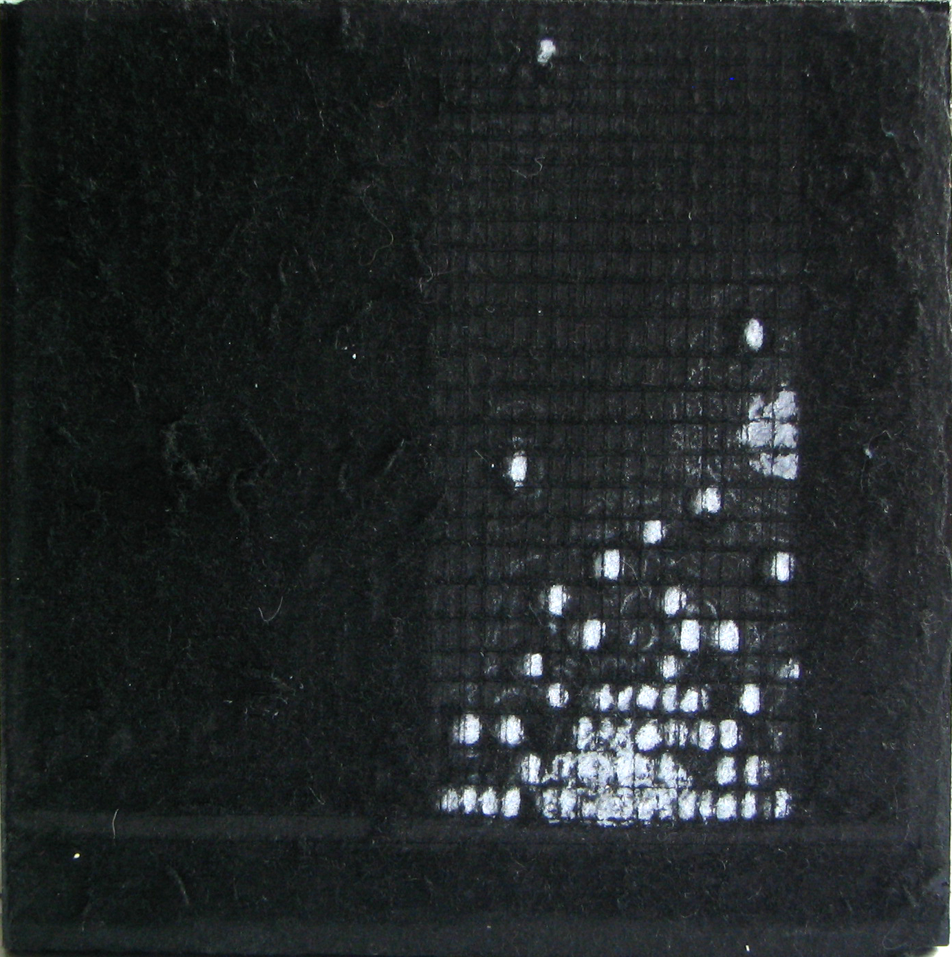 """Gathering Light   White Pencil, Incised Black Paper; 4"""" x 4"""""""
