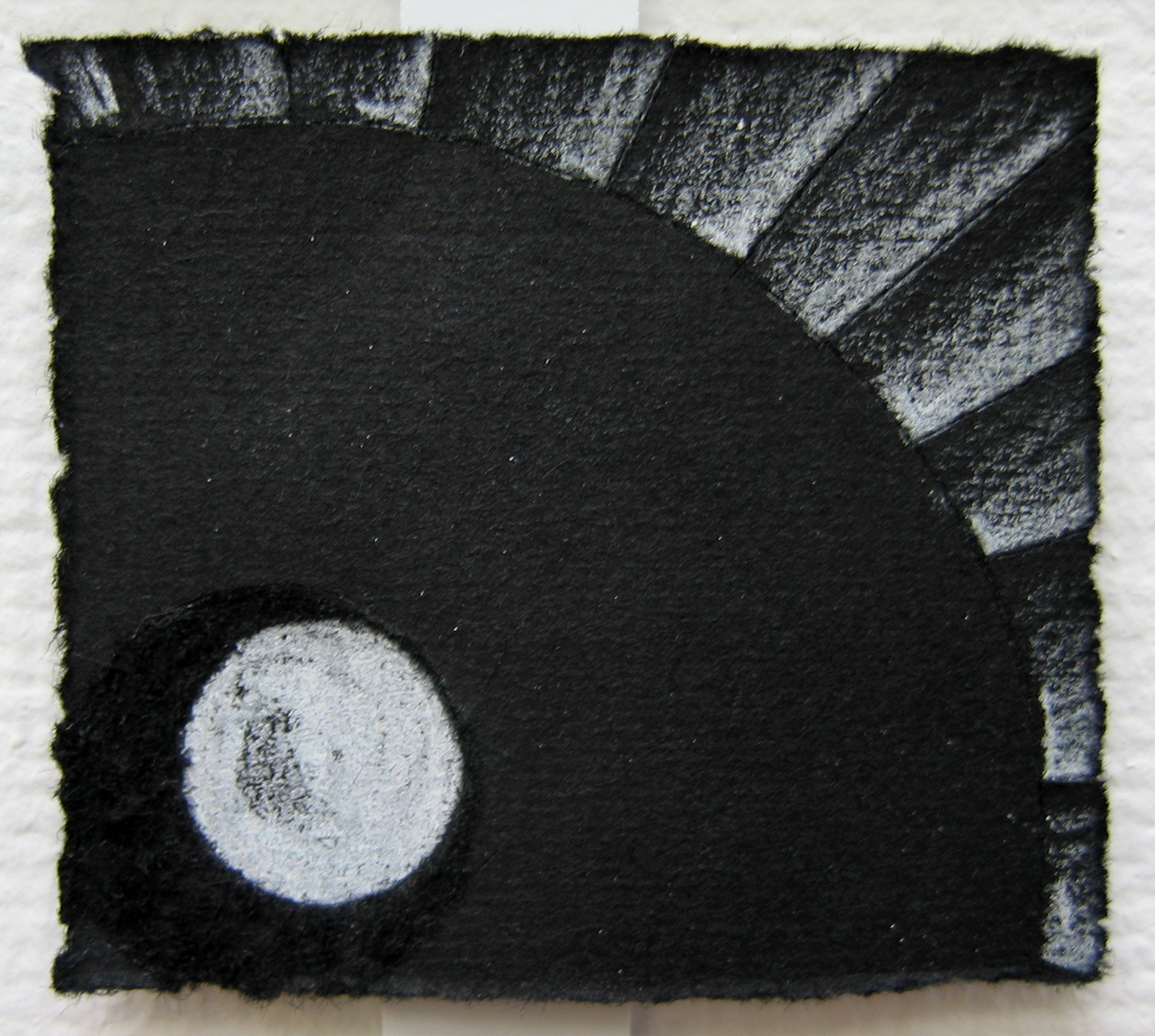 "Light Studies (Detail)   White Pencil, Incised Black Paper; 2 1/2"" x 3"" (1 of 12)"