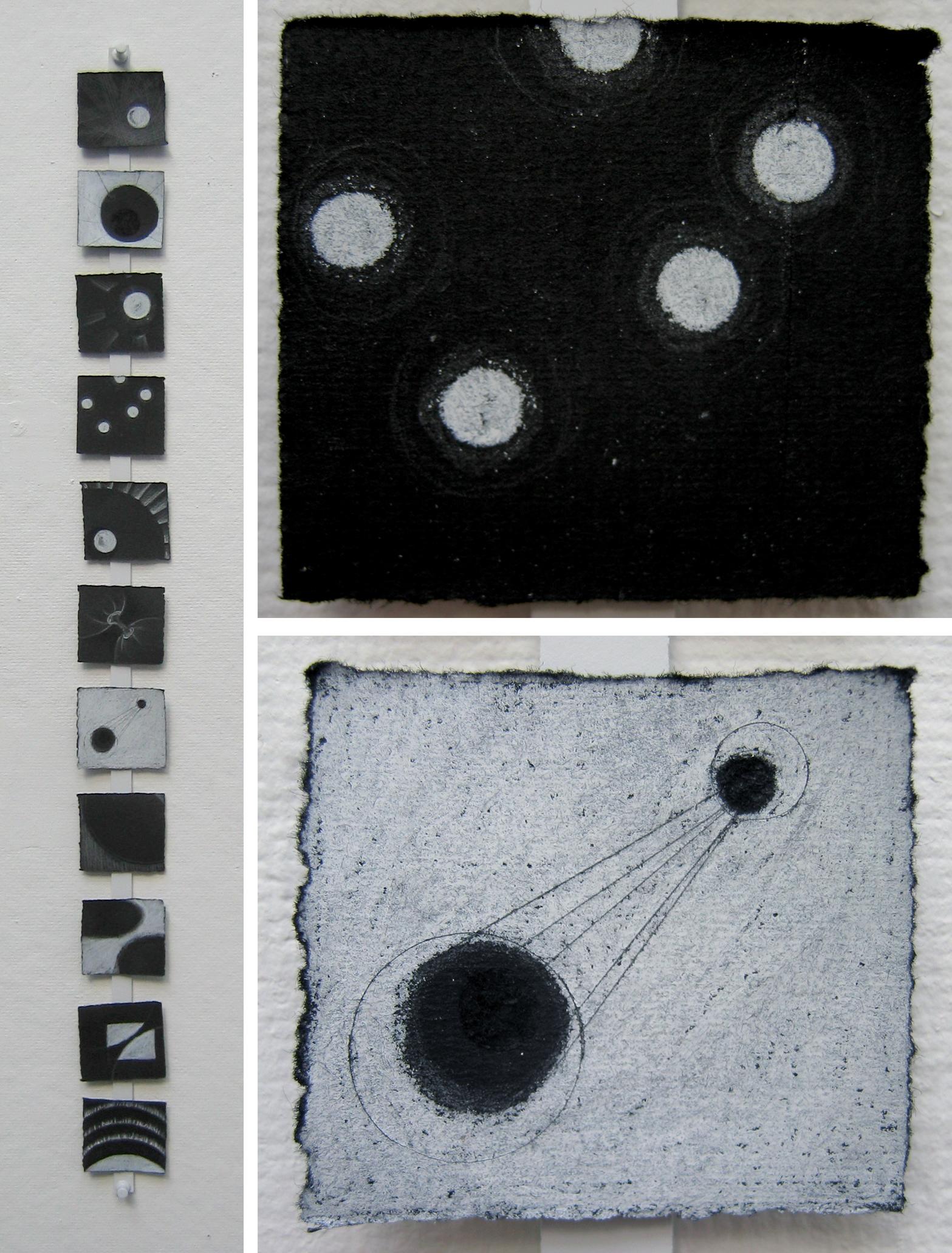"Light Studies   White Pencil, Incised Black Paper; 2 1/2"" x 3"" (series of 12)"