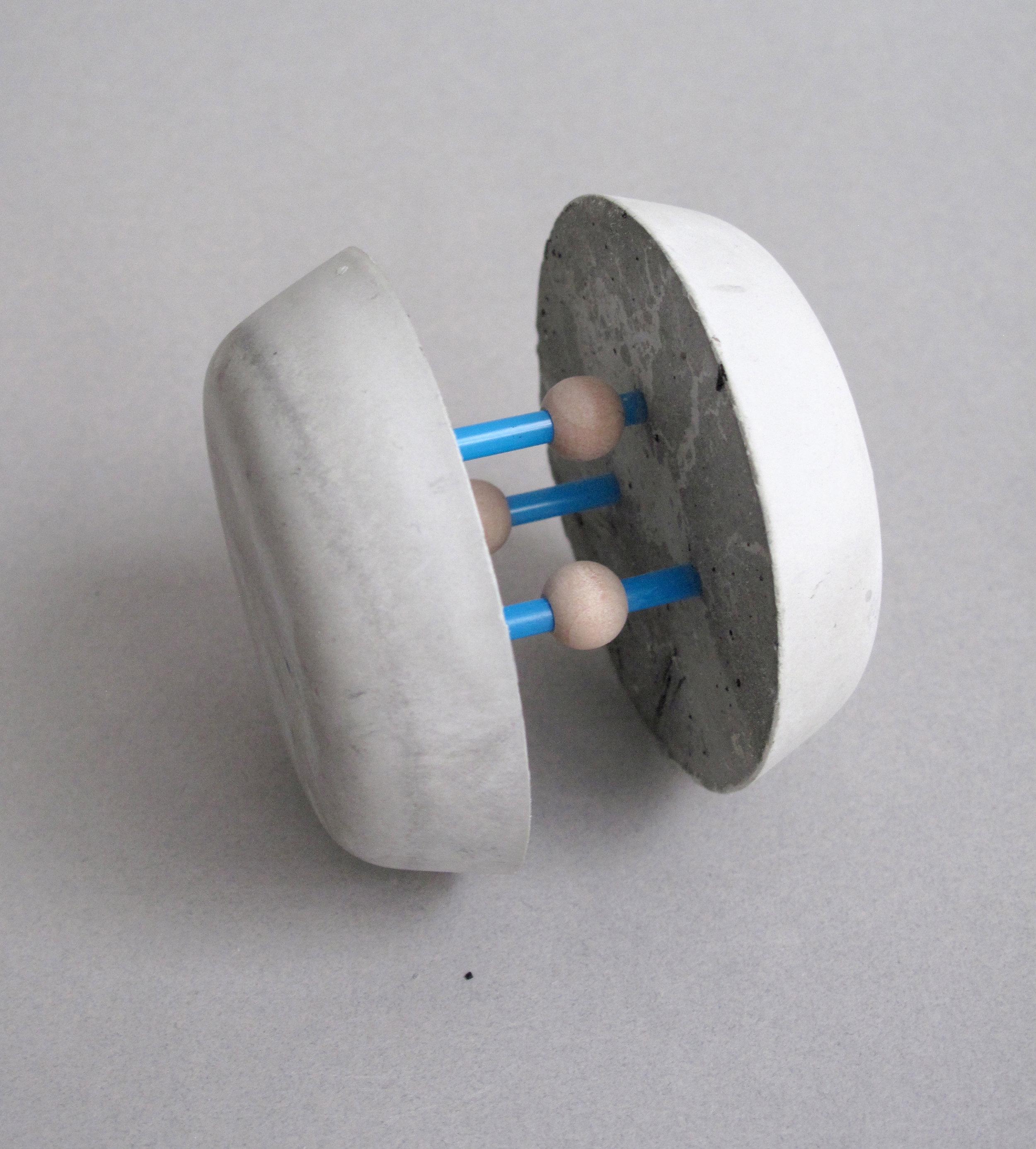 "Ionic Bond (Magnetic Pulse)    Rockite Cement, Stir Straws, Wood Beads - 2.5"" x 2.75"" x 2.75"""