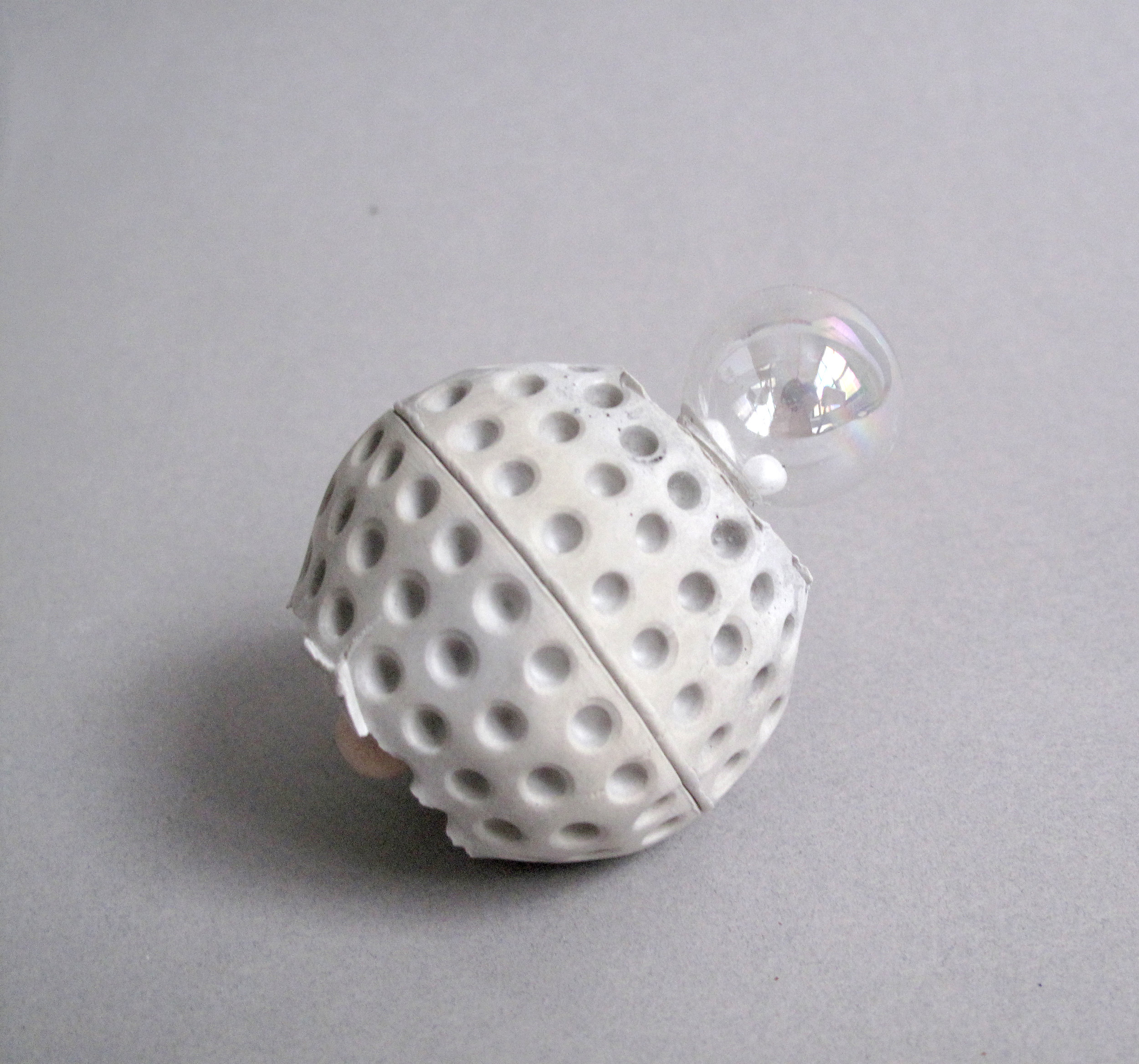 """Right Ascension     Rockite Cement, Wood Bead, Glass Sphere, Styrofoam Ball - 2.75"""" x 3"""" x 2.25"""""""