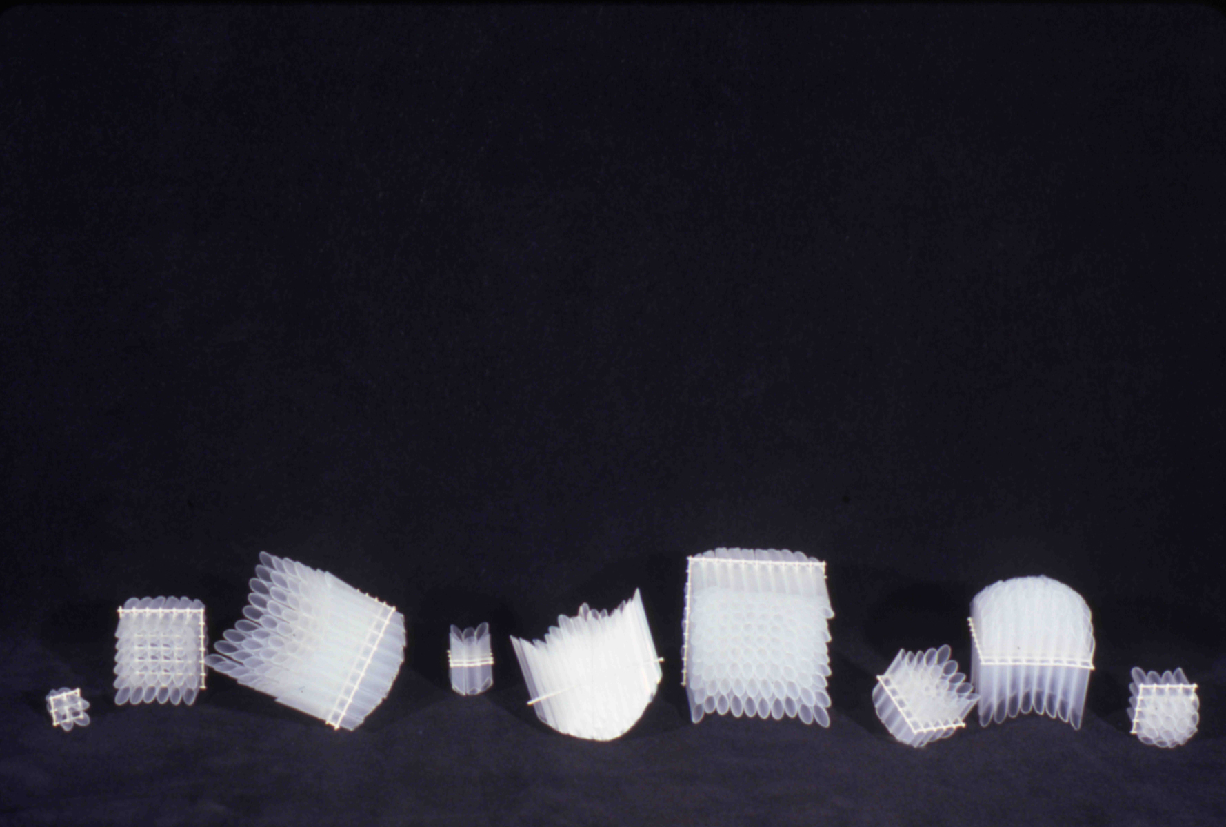 """10   Studies   Cut Drinking Straws, Wire Mesh - Dimensions Variable, approx ½"""" square up to 3"""" square"""