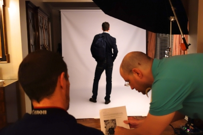 Cover designer, Tal Goretsky, consults with photographer Richard Gerst during the  Playing by the Book  cover shoot.