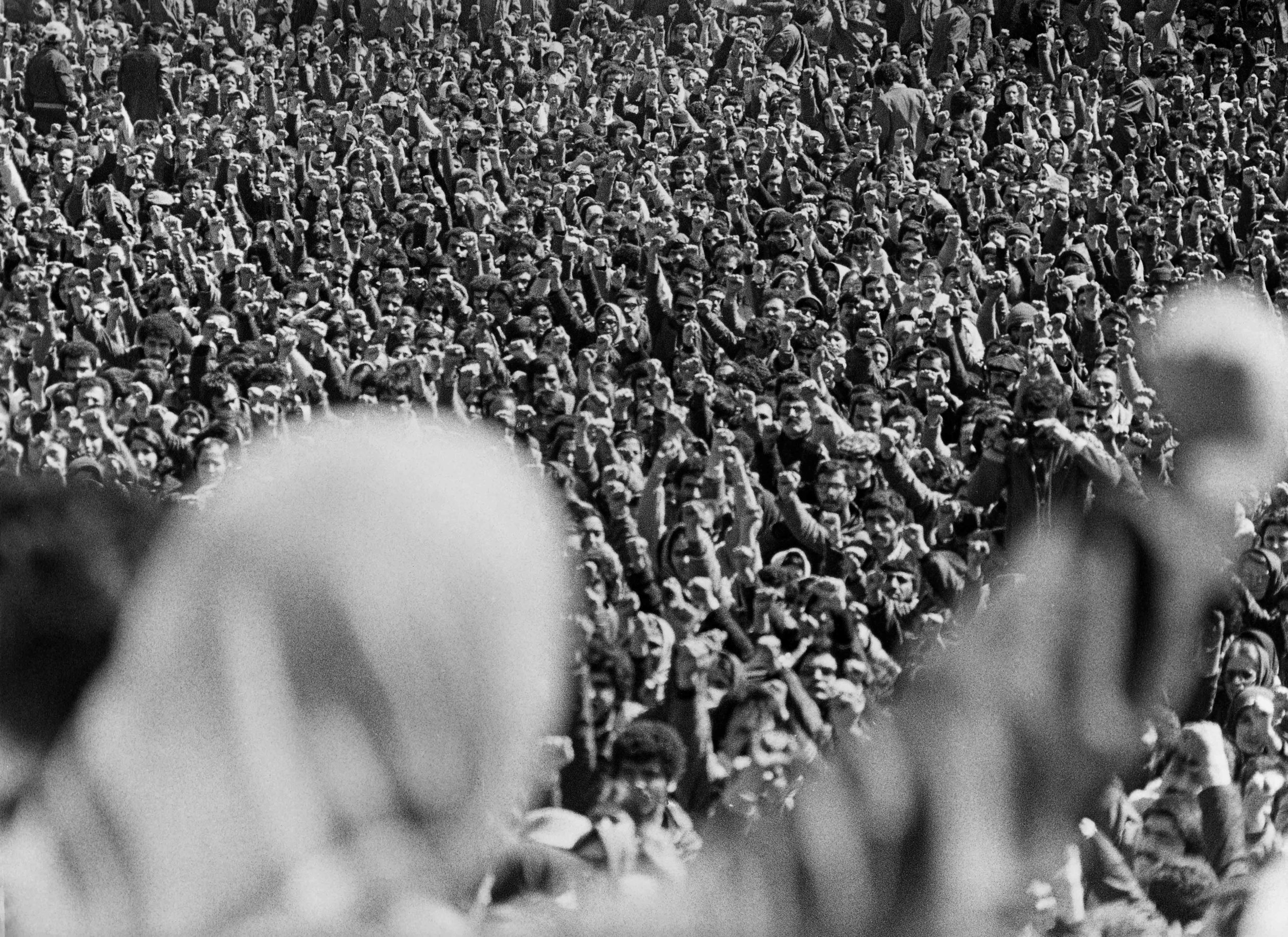 Back of woman with raised fist facing crowd.jpg